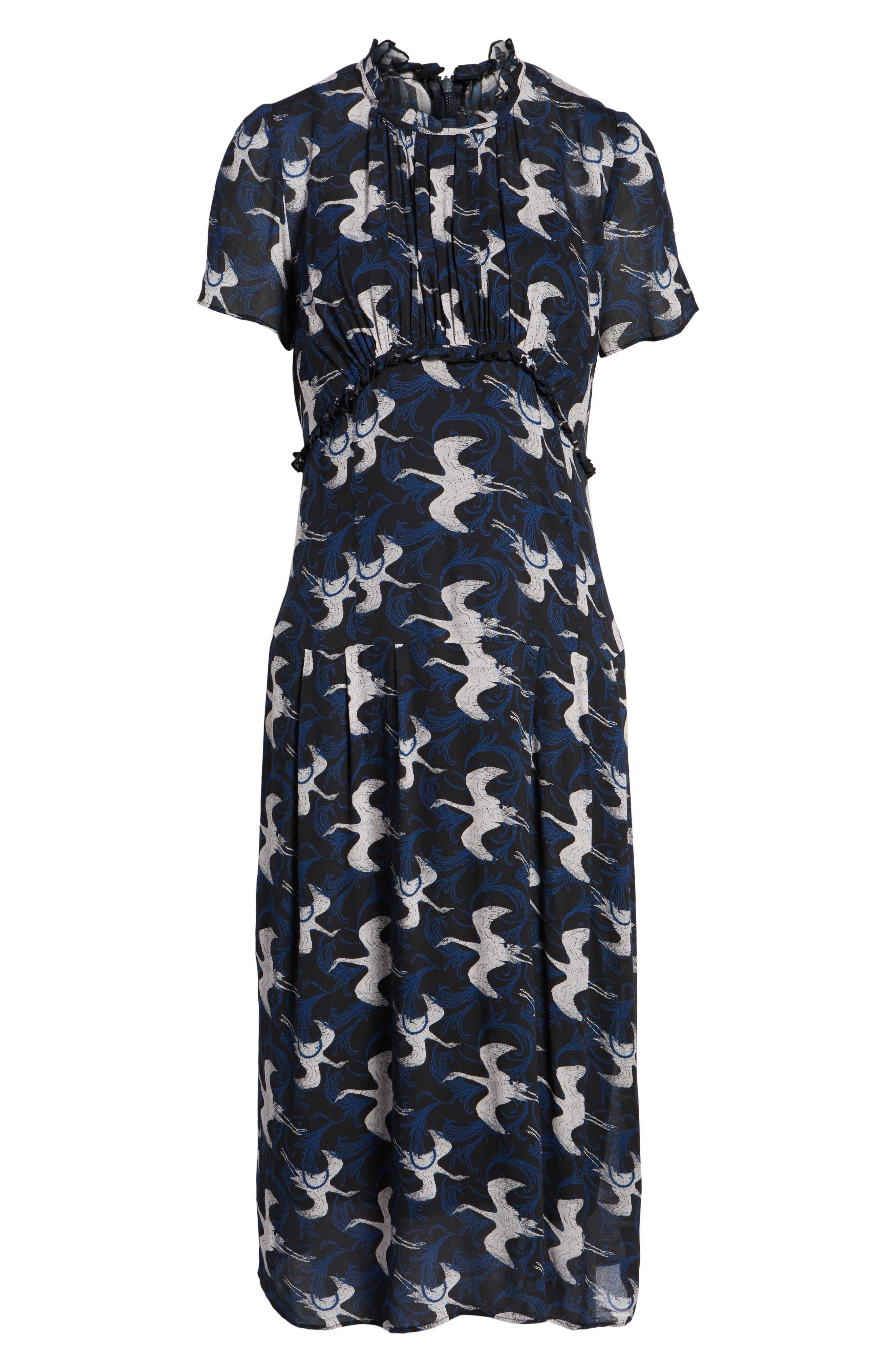 Shirred Midi Dress,                             Alternate thumbnail 6, color,                             020