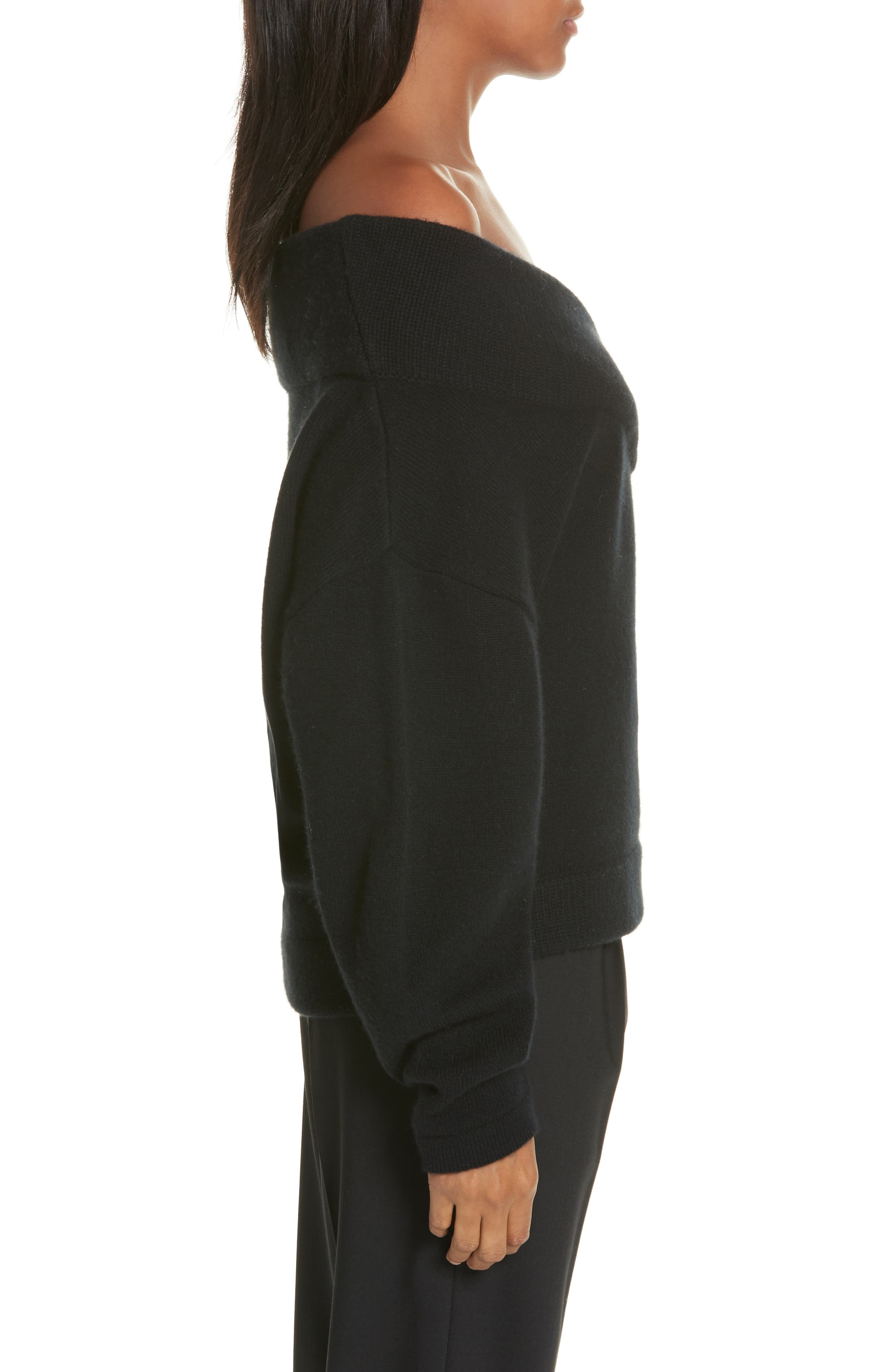 Crop Wool & Cashmere Sweater,                             Alternate thumbnail 3, color,                             001