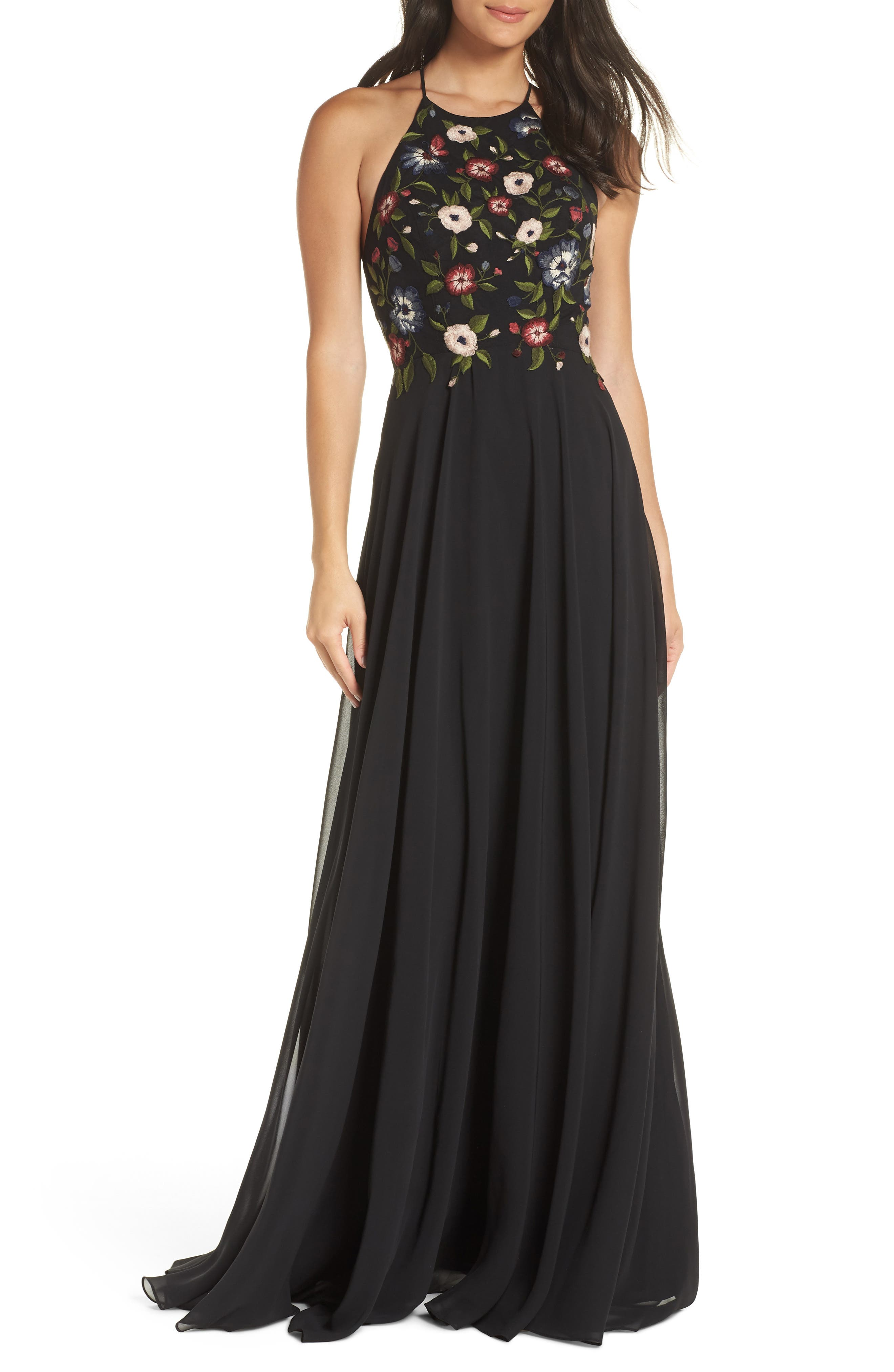 Sophie Embroidered Luxe Chiffon Gown,                             Main thumbnail 1, color,                             BLACK MULTI