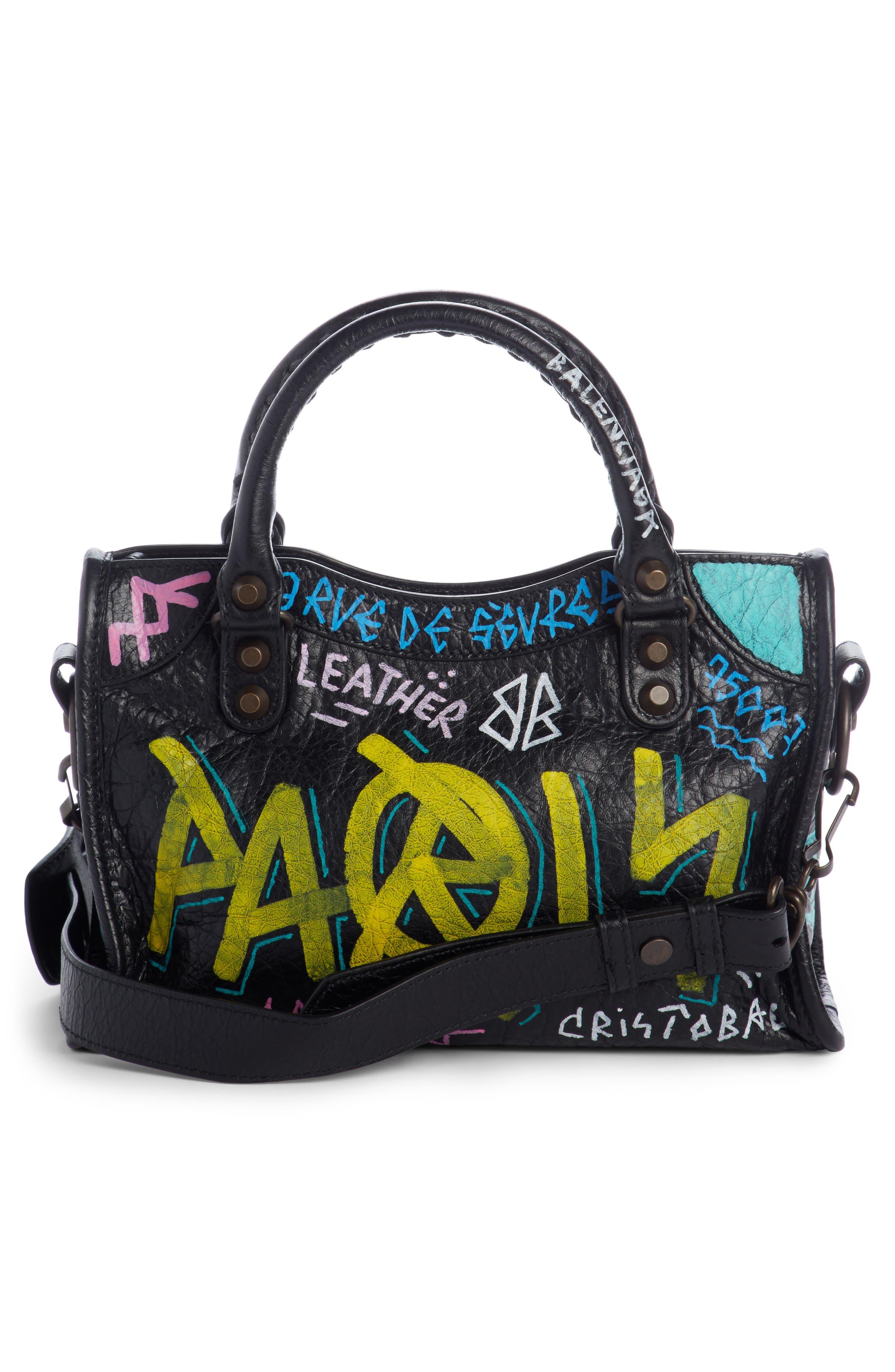 City Graffiti Leather Tote,                             Alternate thumbnail 2, color,                             NOIR MULTI