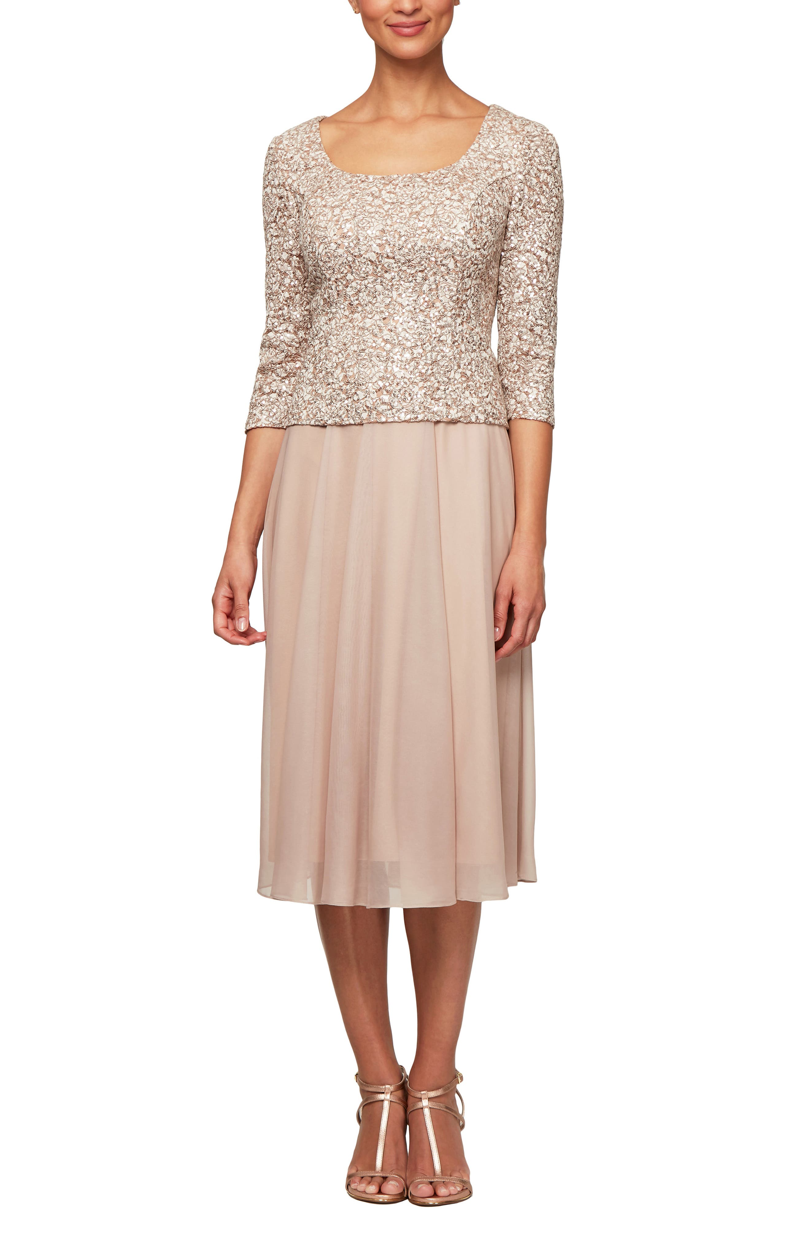 Alex Evenings Sequin Bodice Tea Length Dress, Ivory