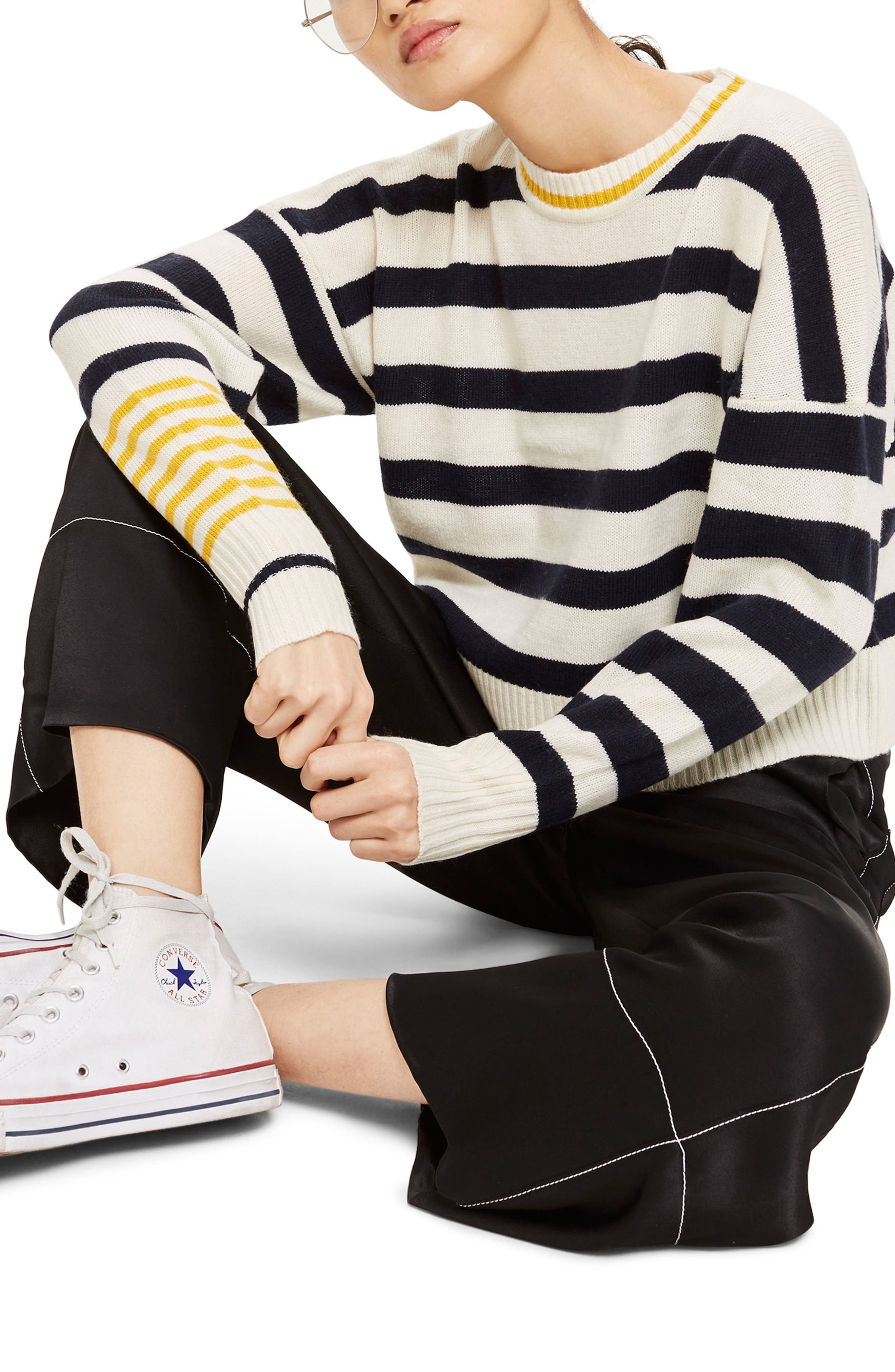 Slouchy Stripe Sweater,                             Main thumbnail 1, color,