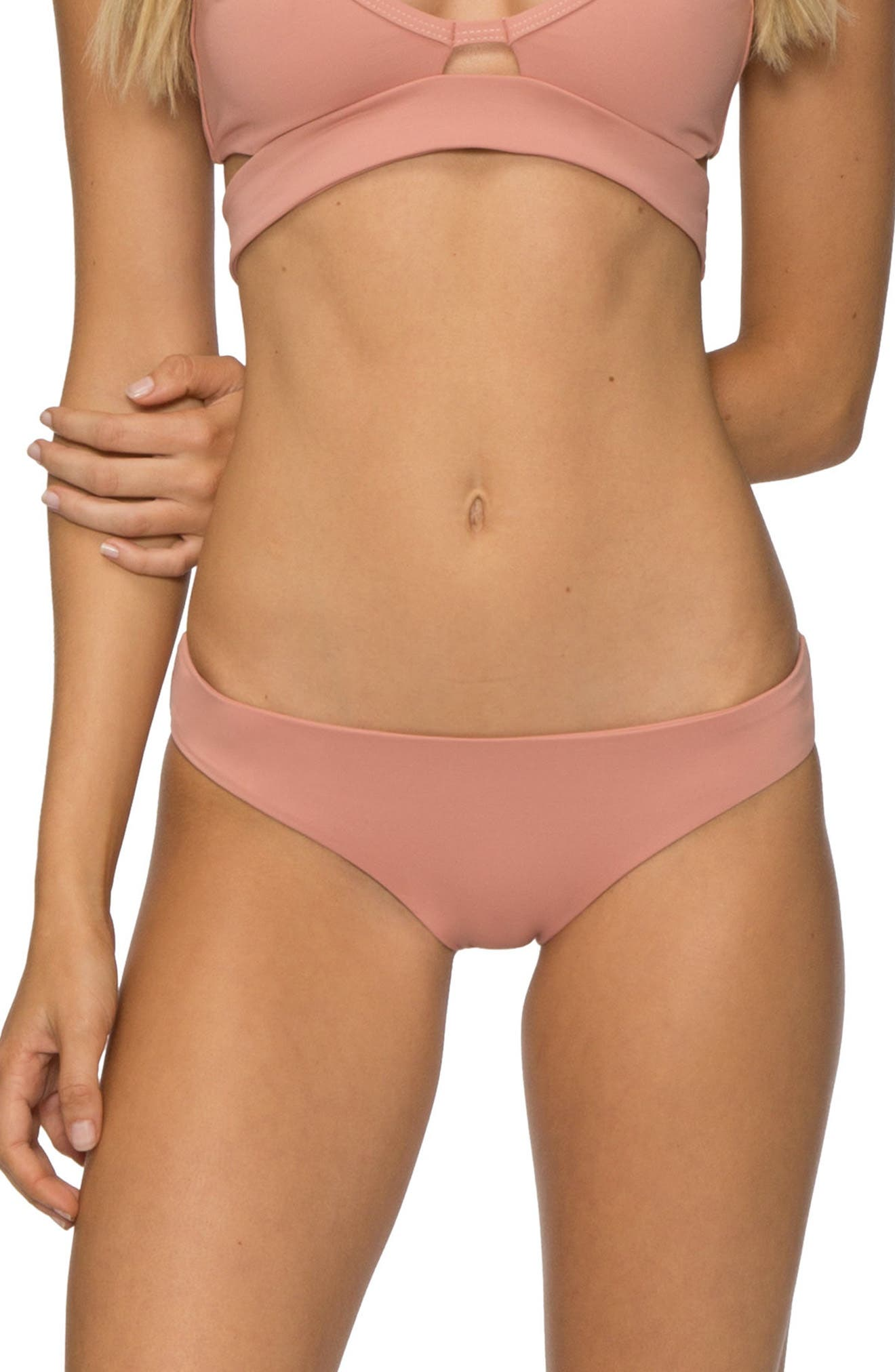 'Ali' Moderate Coverage Bikini Bottoms,                             Main thumbnail 1, color,                             ROSE DAWN
