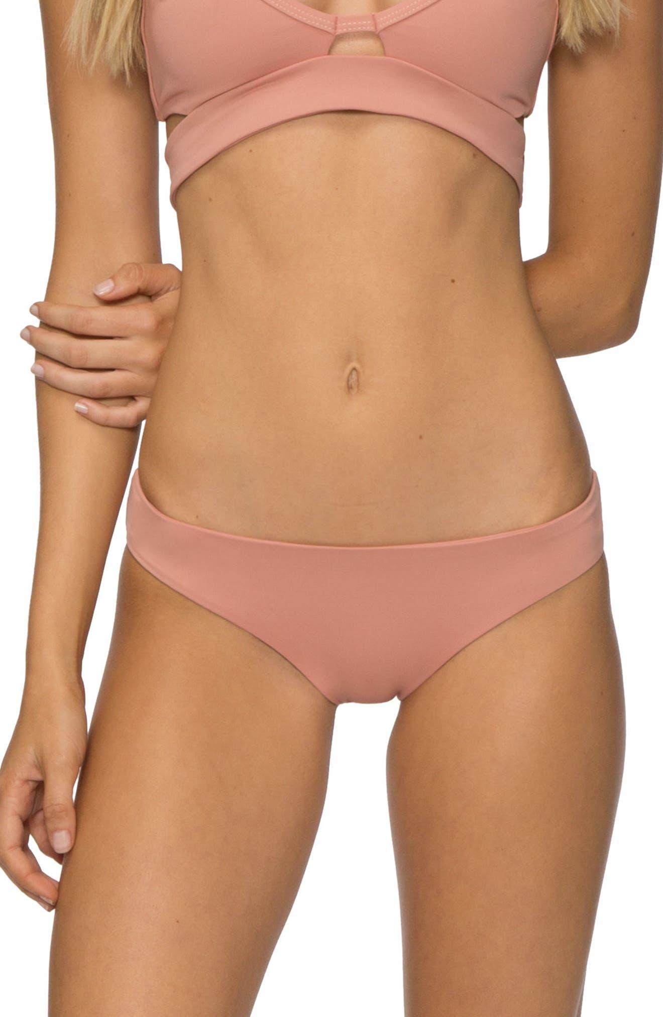 'Ali' Moderate Coverage Bikini Bottoms,                         Main,                         color, ROSE DAWN