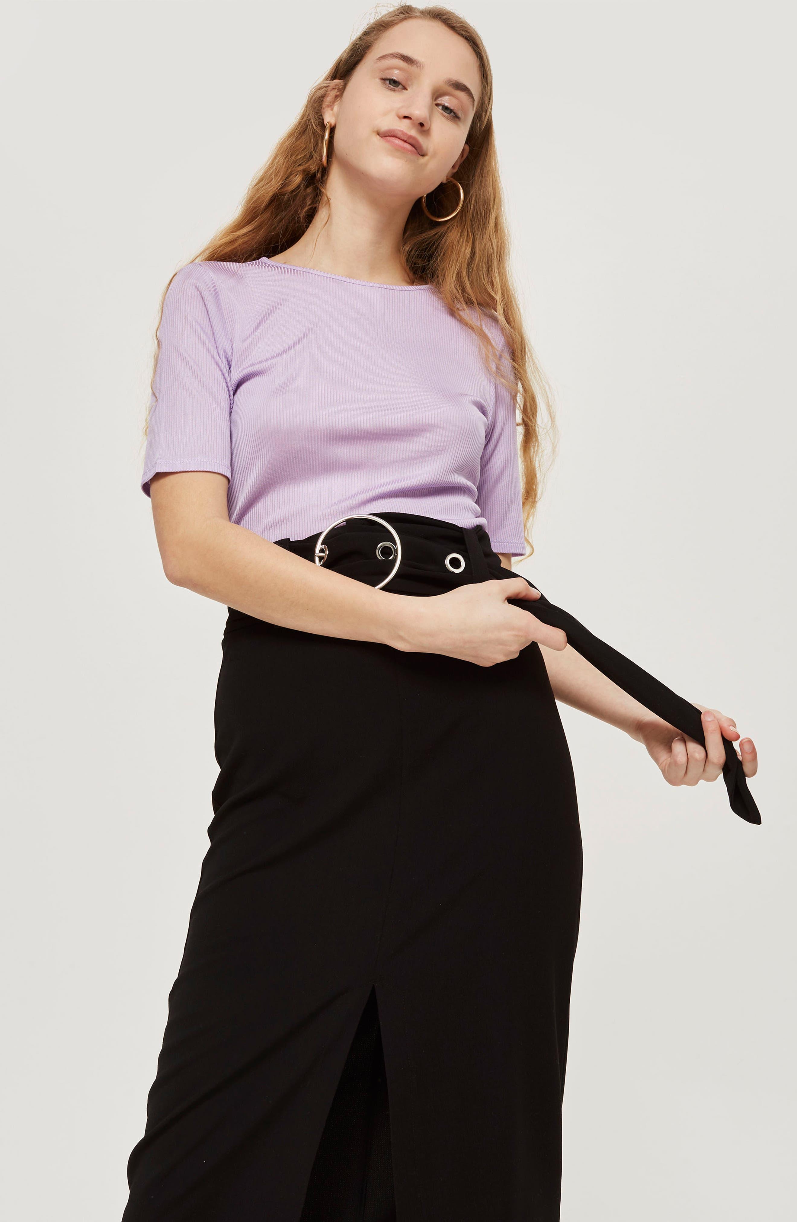 Ring Buckle Midi Skirt,                             Alternate thumbnail 4, color,                             001