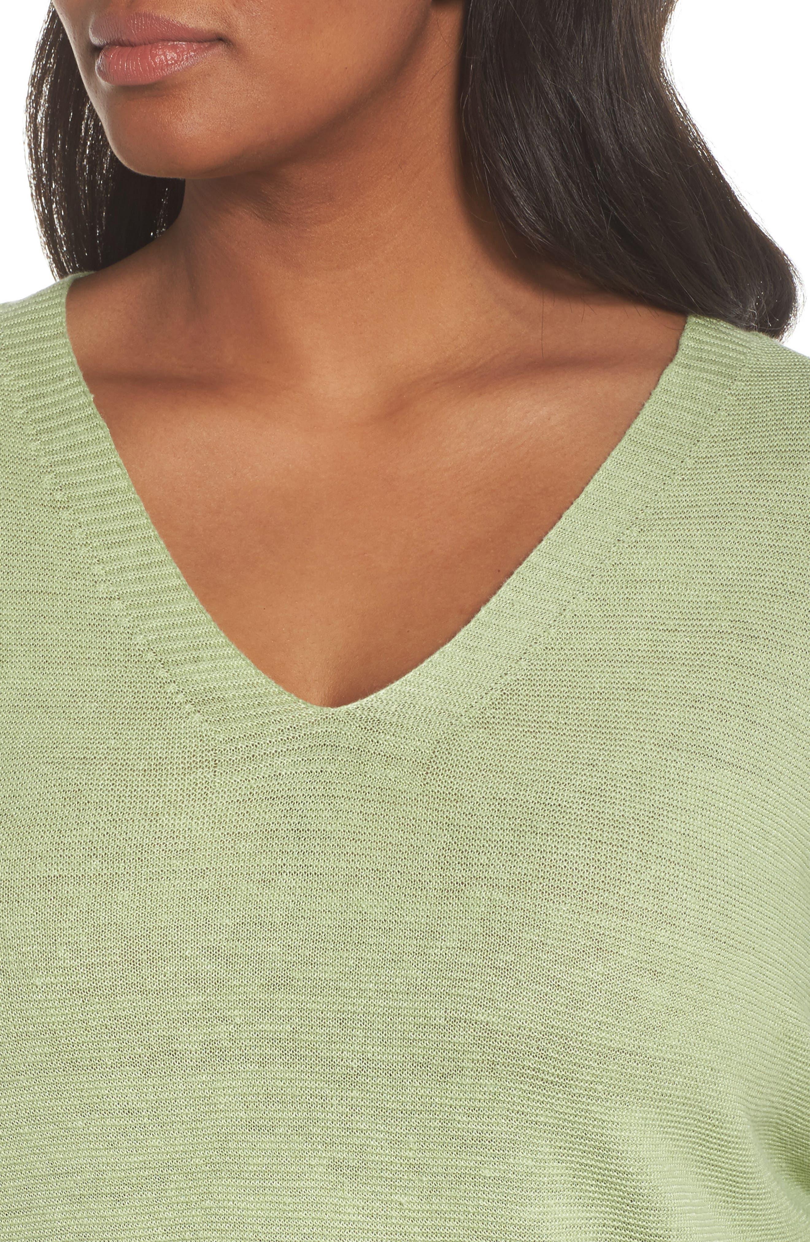 V-Neck Organic Linen Top,                             Alternate thumbnail 22, color,