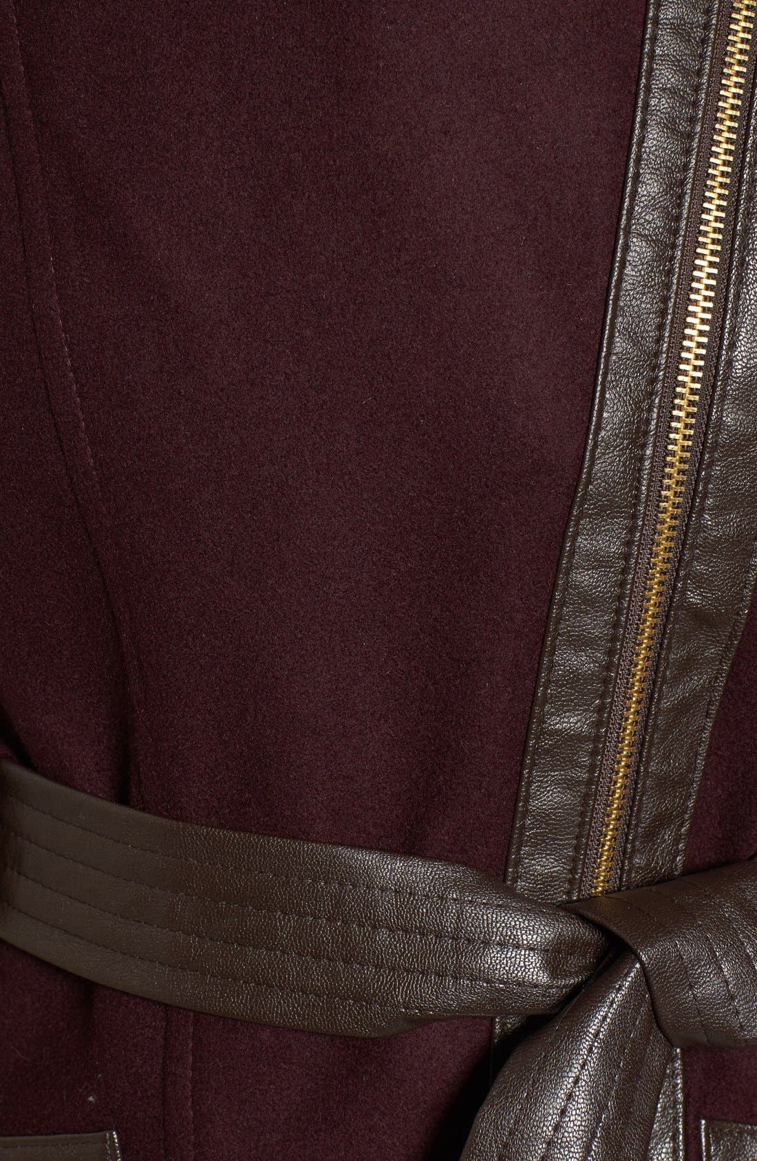 Faux Leather & Faux Fur Trim Belted Wool Blend Coat,                             Alternate thumbnail 38, color,
