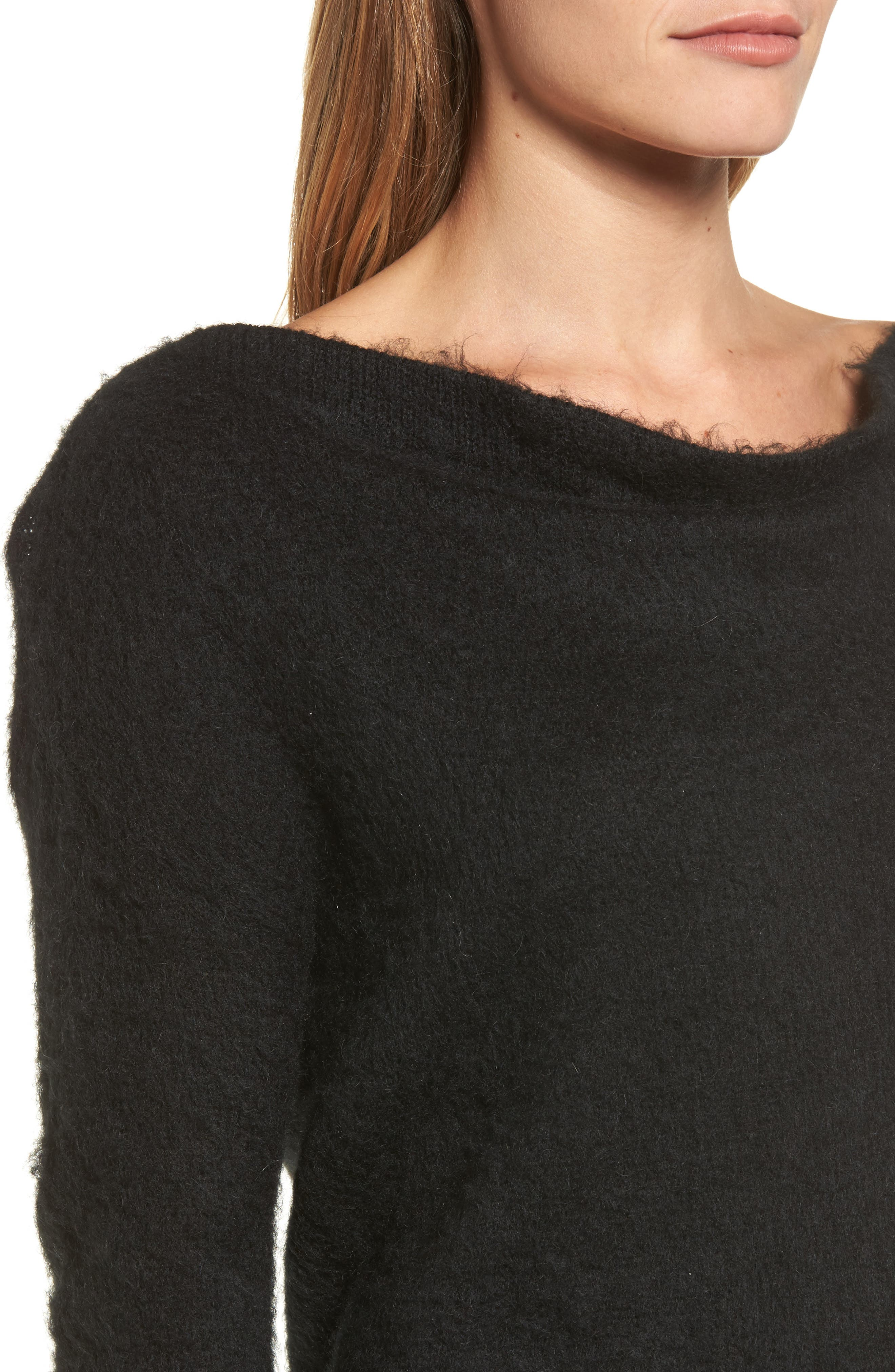 Long Sleeve Brushed Sweater,                             Alternate thumbnail 4, color,                             001