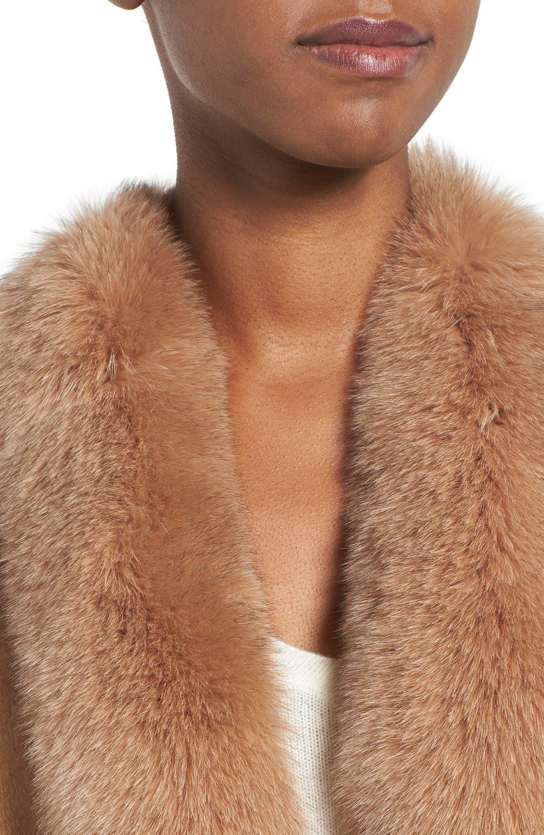 Genuine Fox Fur Trim Short Cashmere Cape,                             Alternate thumbnail 16, color,