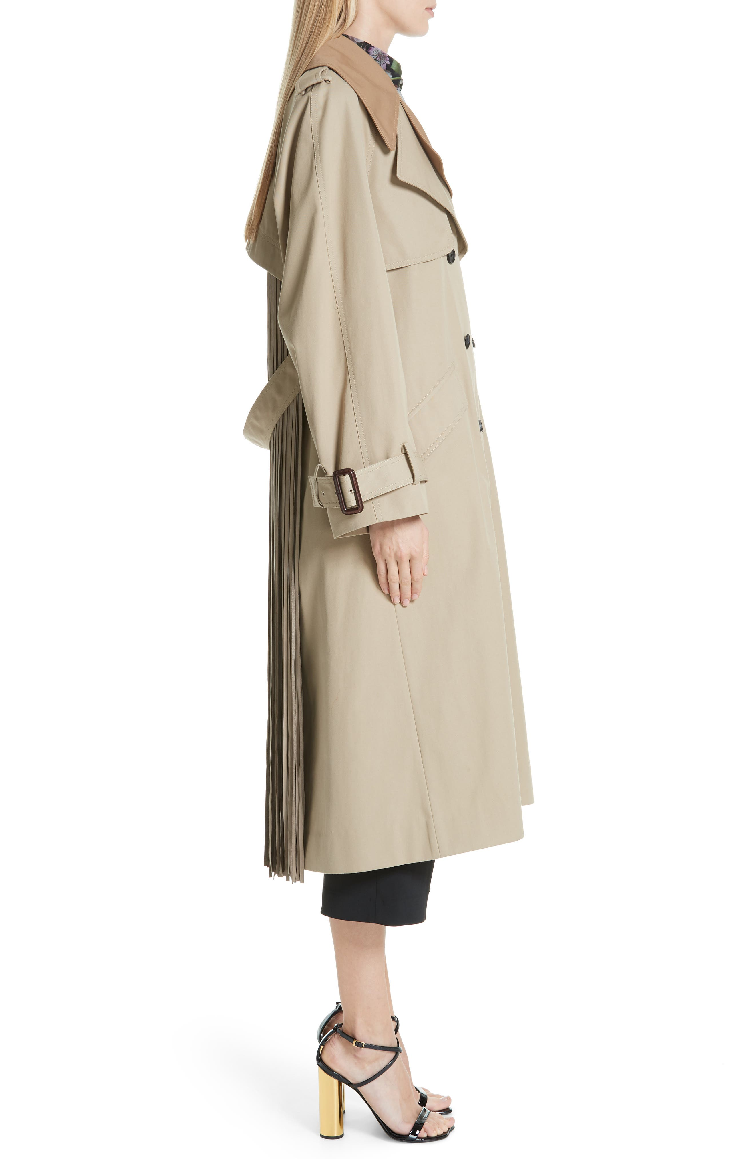 Trench Coat with Vest & Removable Fringe,                             Alternate thumbnail 4, color,                             KHAKI/ TAN