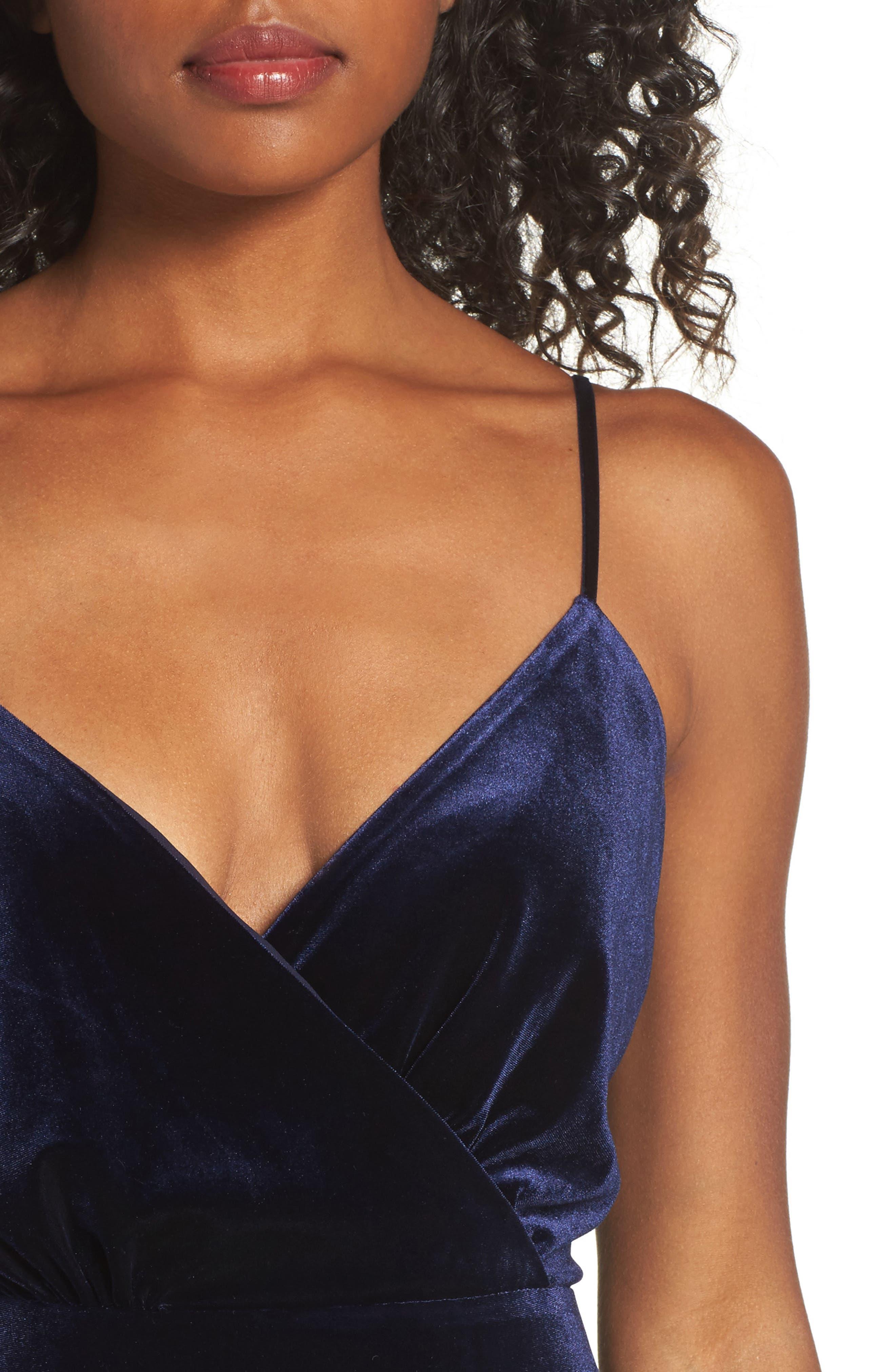 Velvet Faux Wrap Midi Dress,                             Alternate thumbnail 4, color,                             NAVY