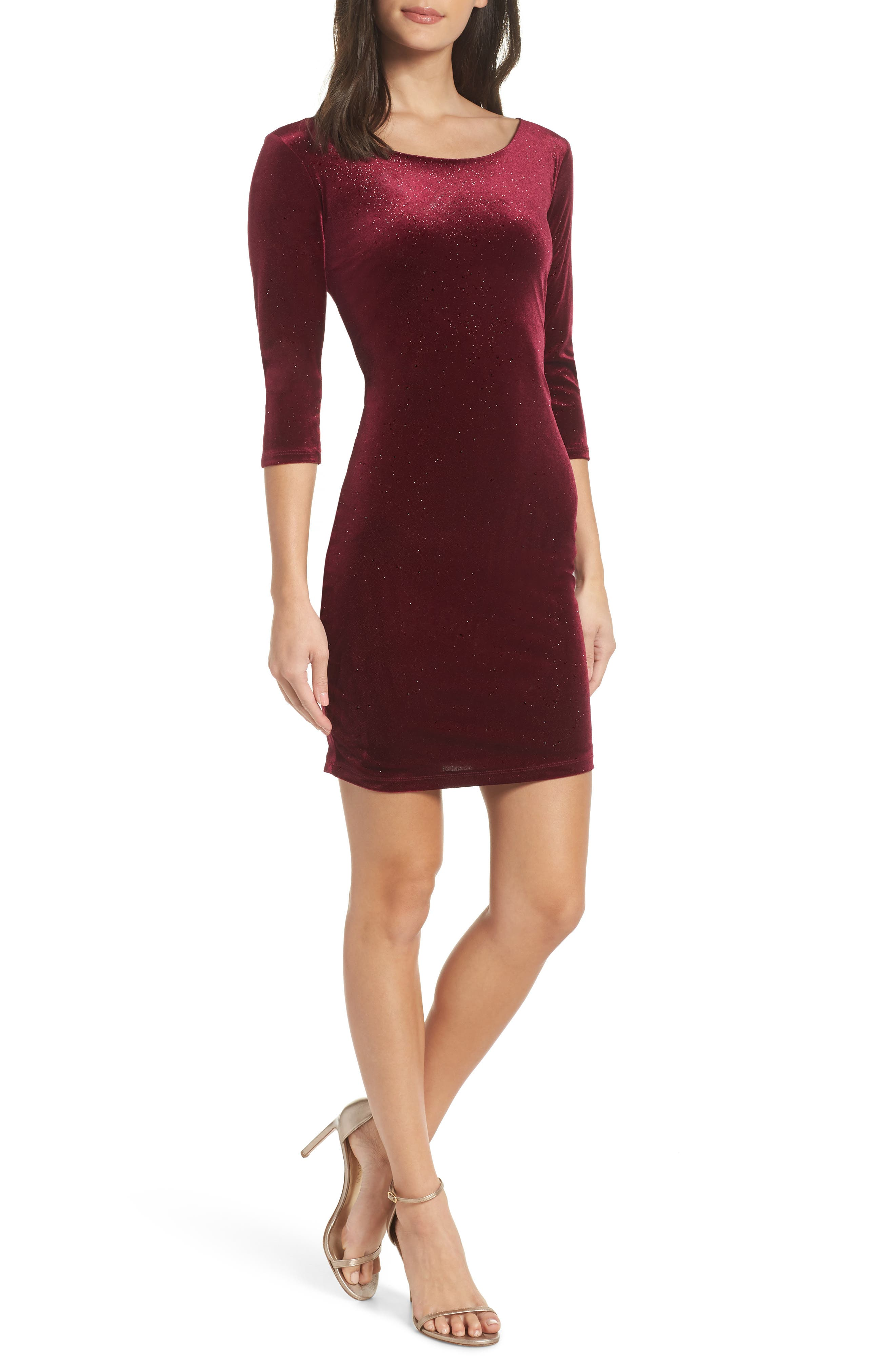 SEQUIN HEARTS Glitter Velvet Body-Con Sheath, Main, color, WINE