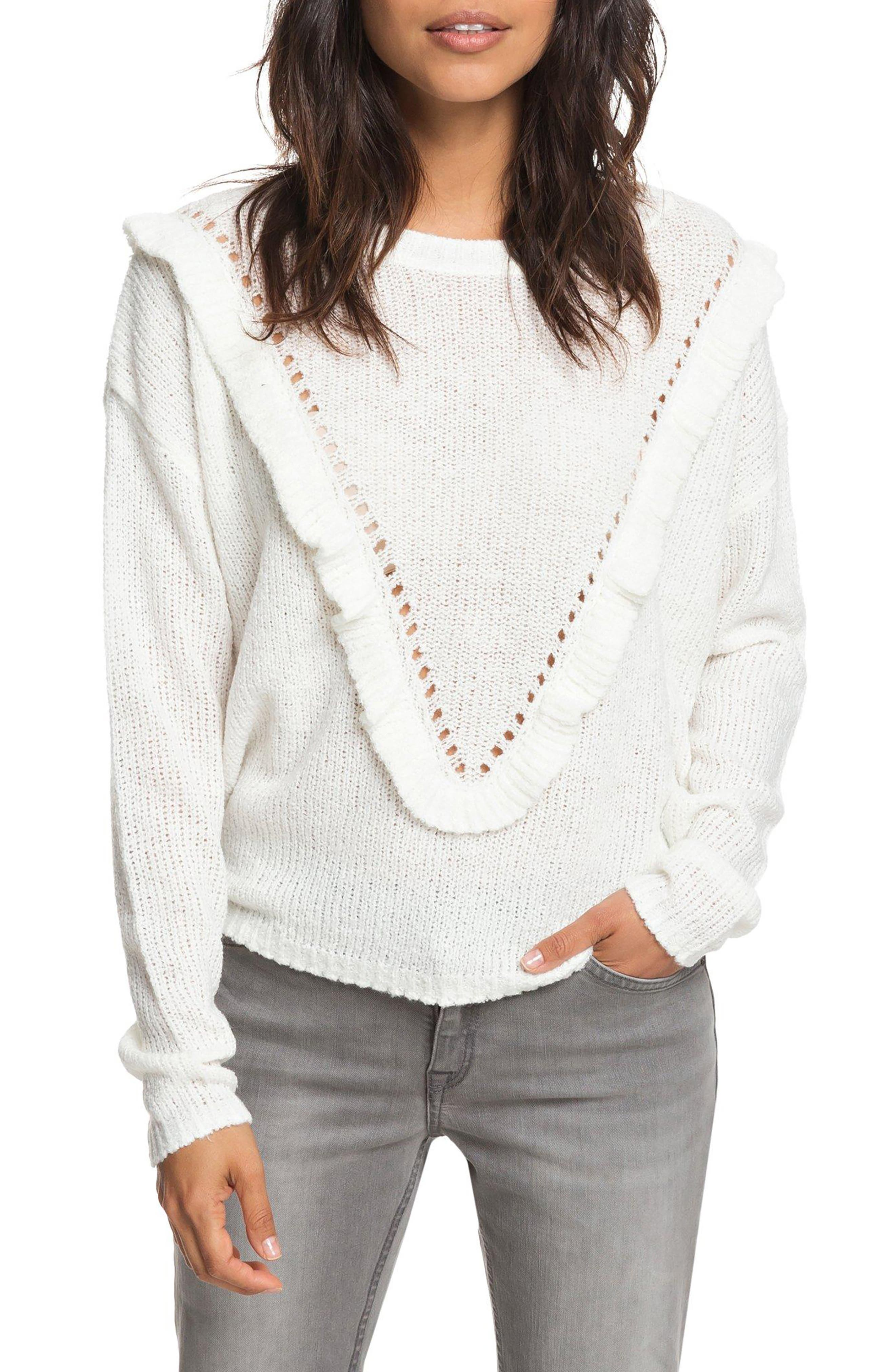One Fine Stay Ruffle Sweater,                             Main thumbnail 1, color,                             MARSHMALLOW