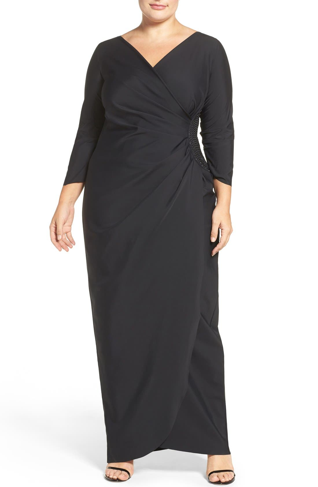 Embellished Side Ruched Jersey Gown,                             Main thumbnail 1, color,                             001