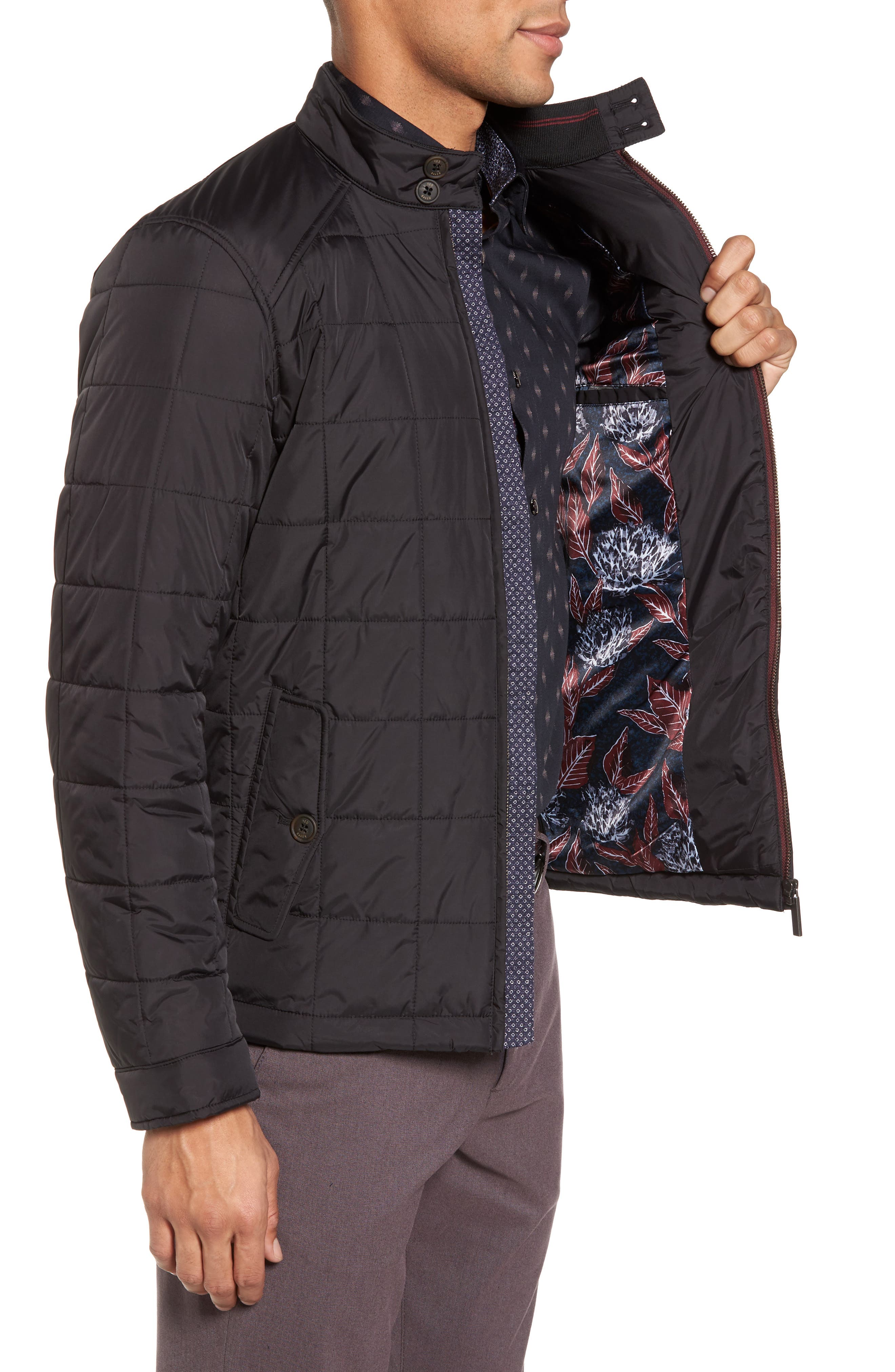 Alees Trim Fit Quilted Jacket,                             Alternate thumbnail 3, color,                             001
