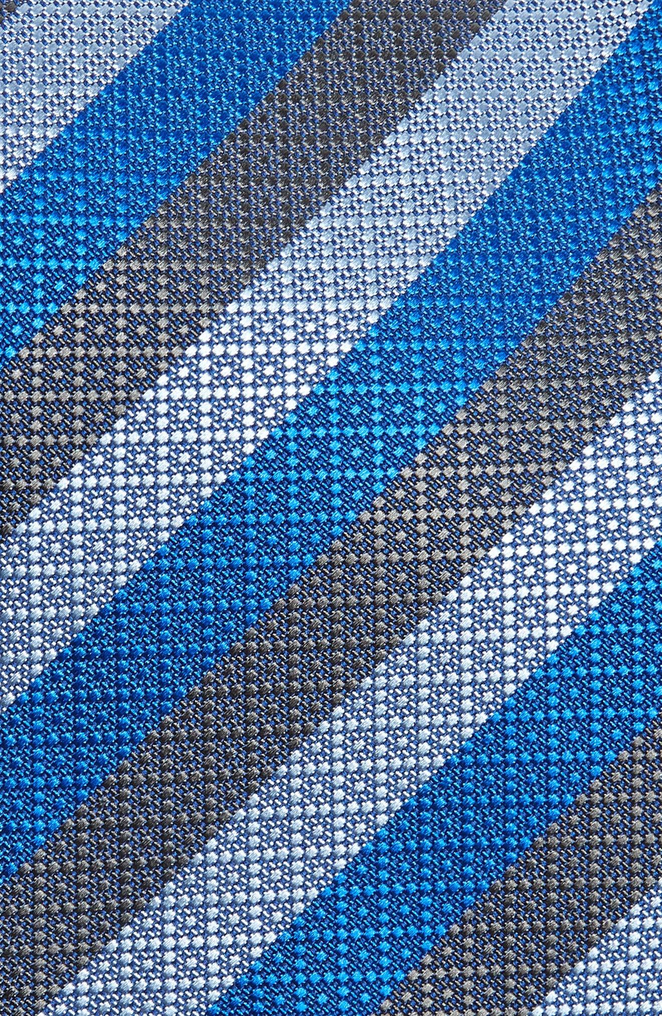 Stripe Silk Tie,                             Alternate thumbnail 2, color,                             CHARCOAL
