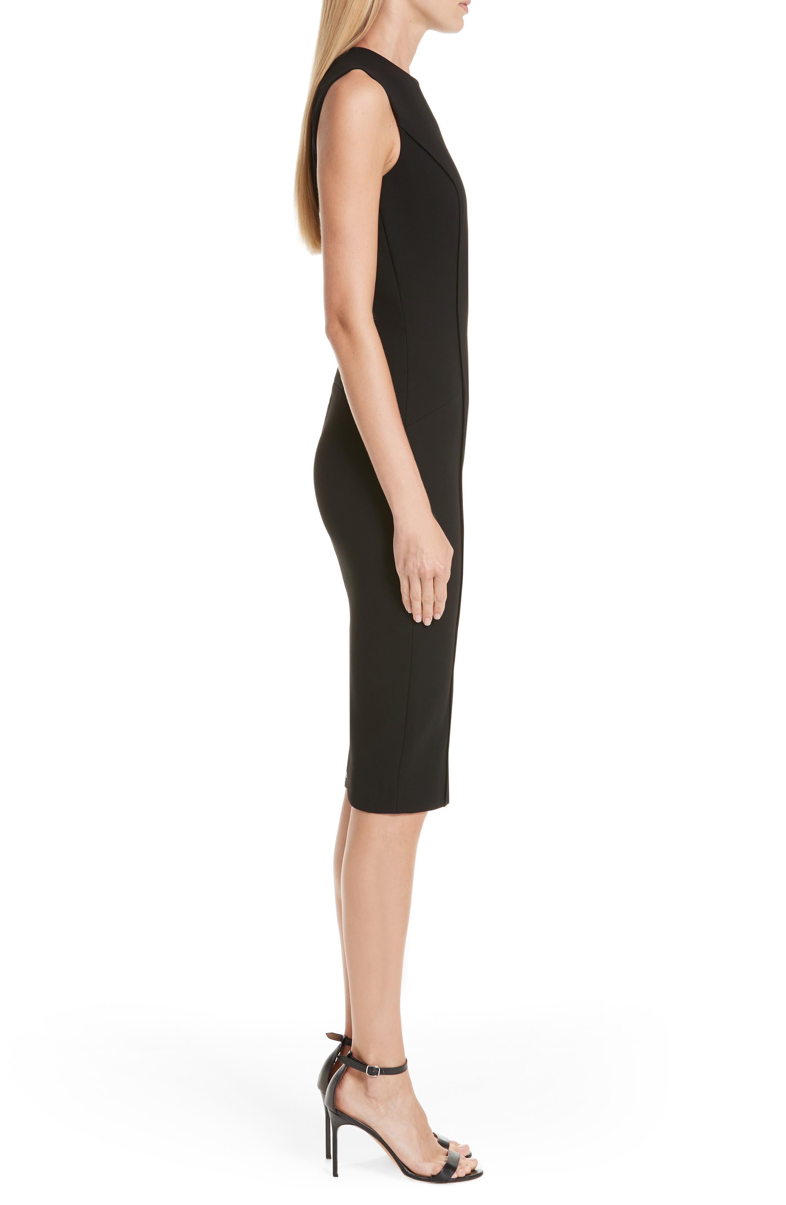 Back Zip Body-Con Dress,                             Alternate thumbnail 3, color,                             BLACK