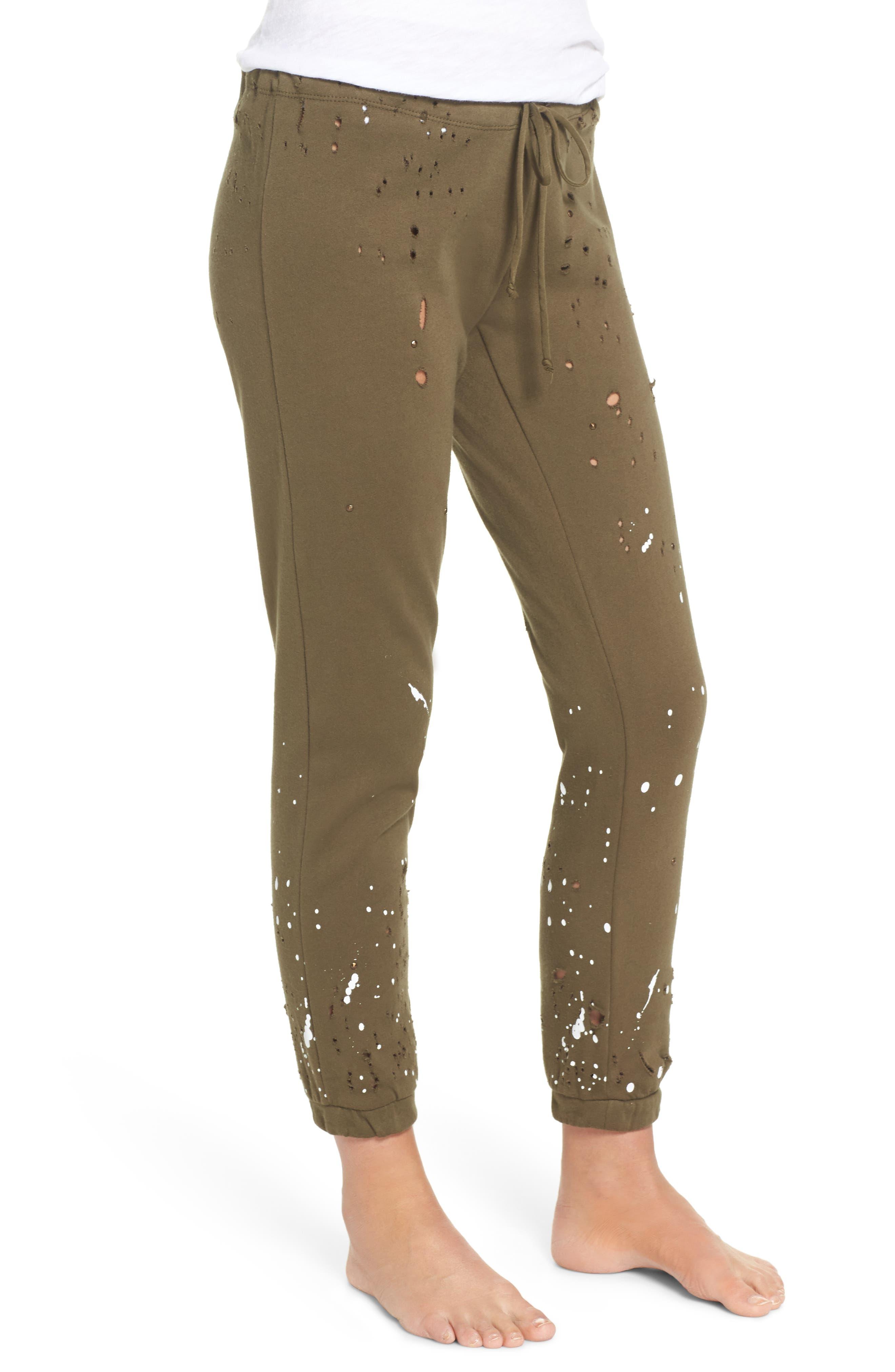 Distressed Fleece Jogger Lounge Pants,                             Alternate thumbnail 6, color,