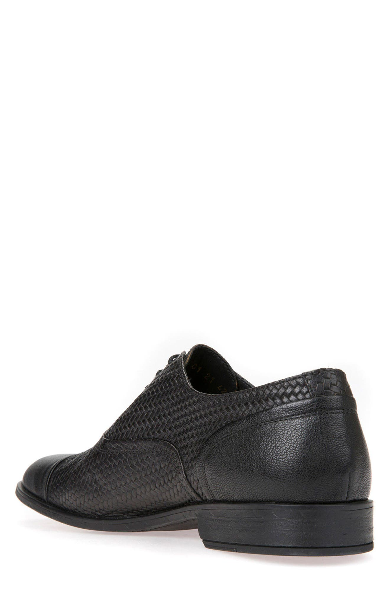 Bryceton Textured Cap Toe Oxford,                             Alternate thumbnail 2, color,                             BLACK LEATHER