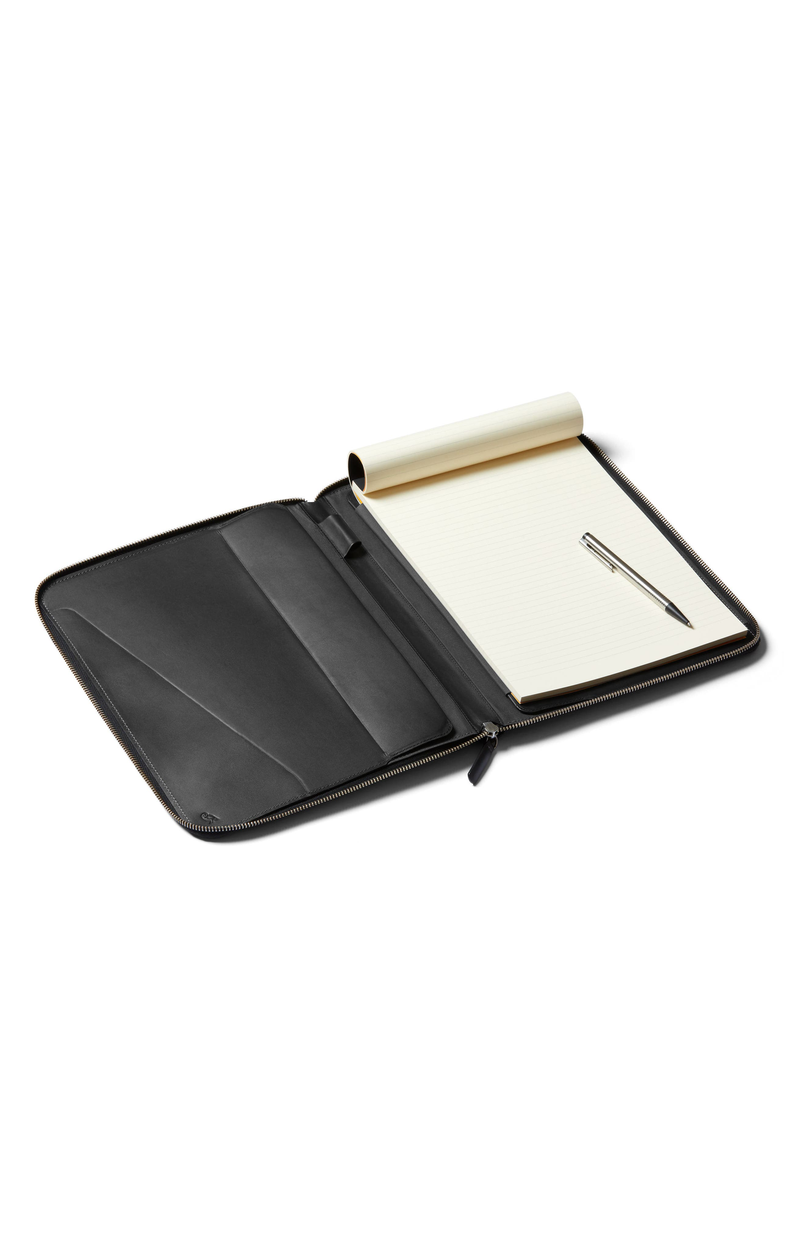 A4 Leather Work Folio,                             Alternate thumbnail 4, color,                             BLACK