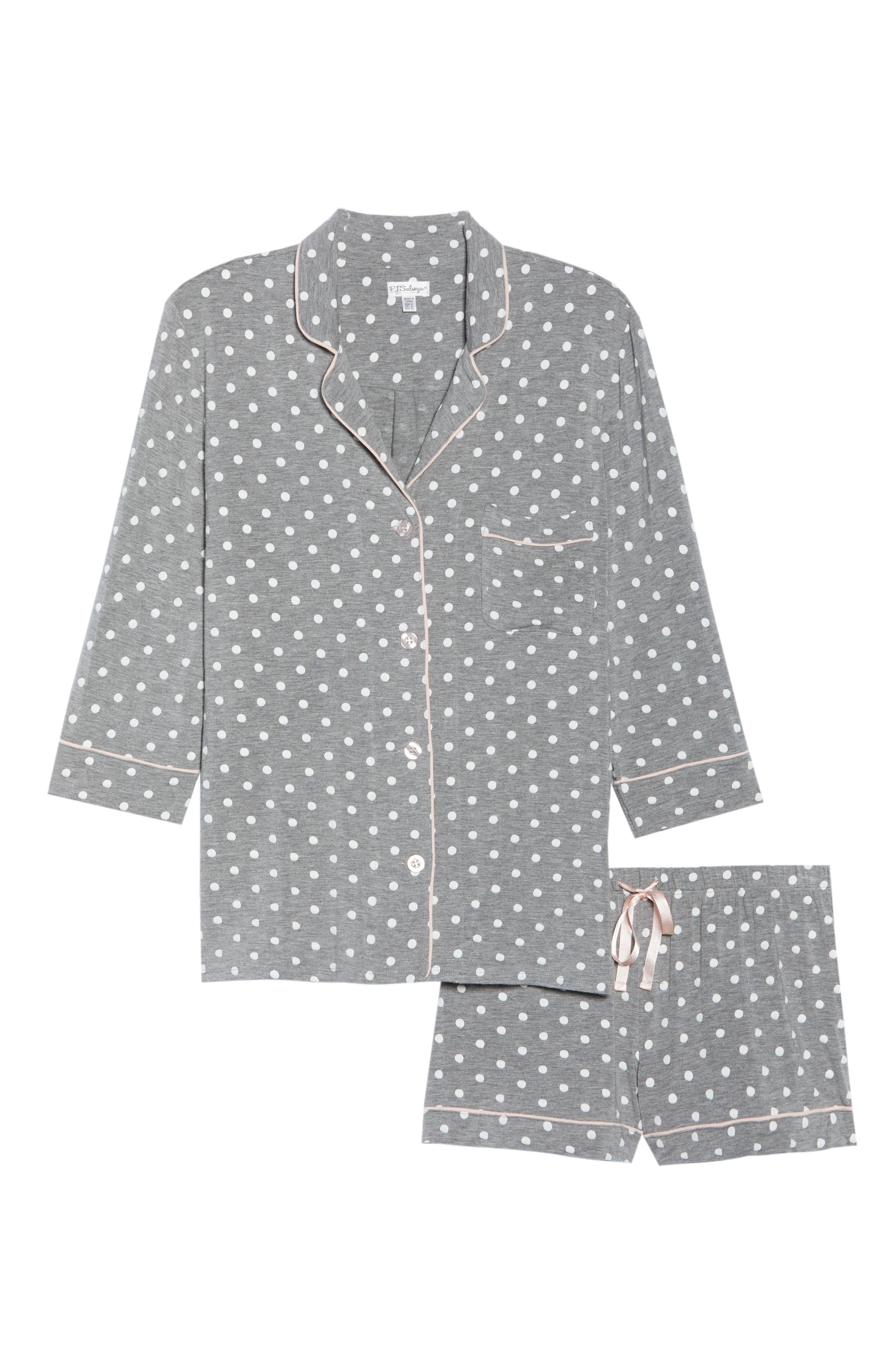 Modal Three-Quarter Sleeve Short Pajamas,                             Alternate thumbnail 6, color,                             H GREY