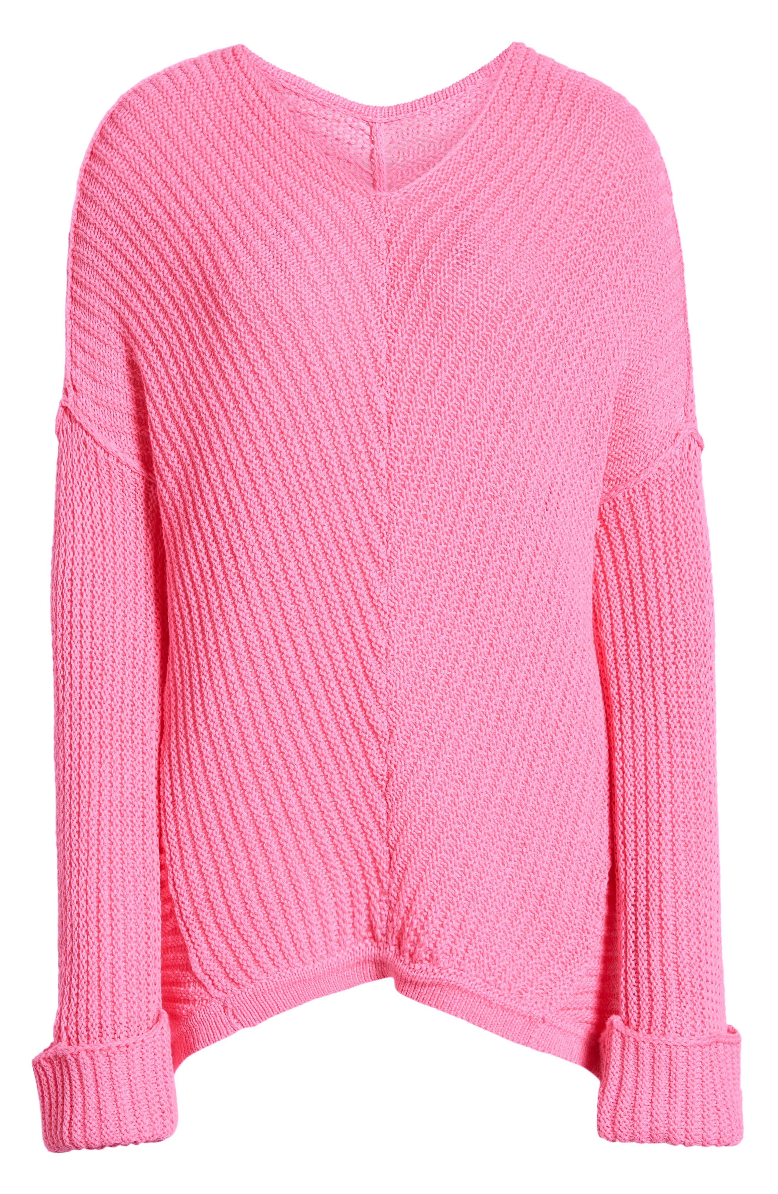 CASLON<SUP>®</SUP>,                             Cuffed Sleeve Sweater,                             Alternate thumbnail 6, color,                             PINK SACHET