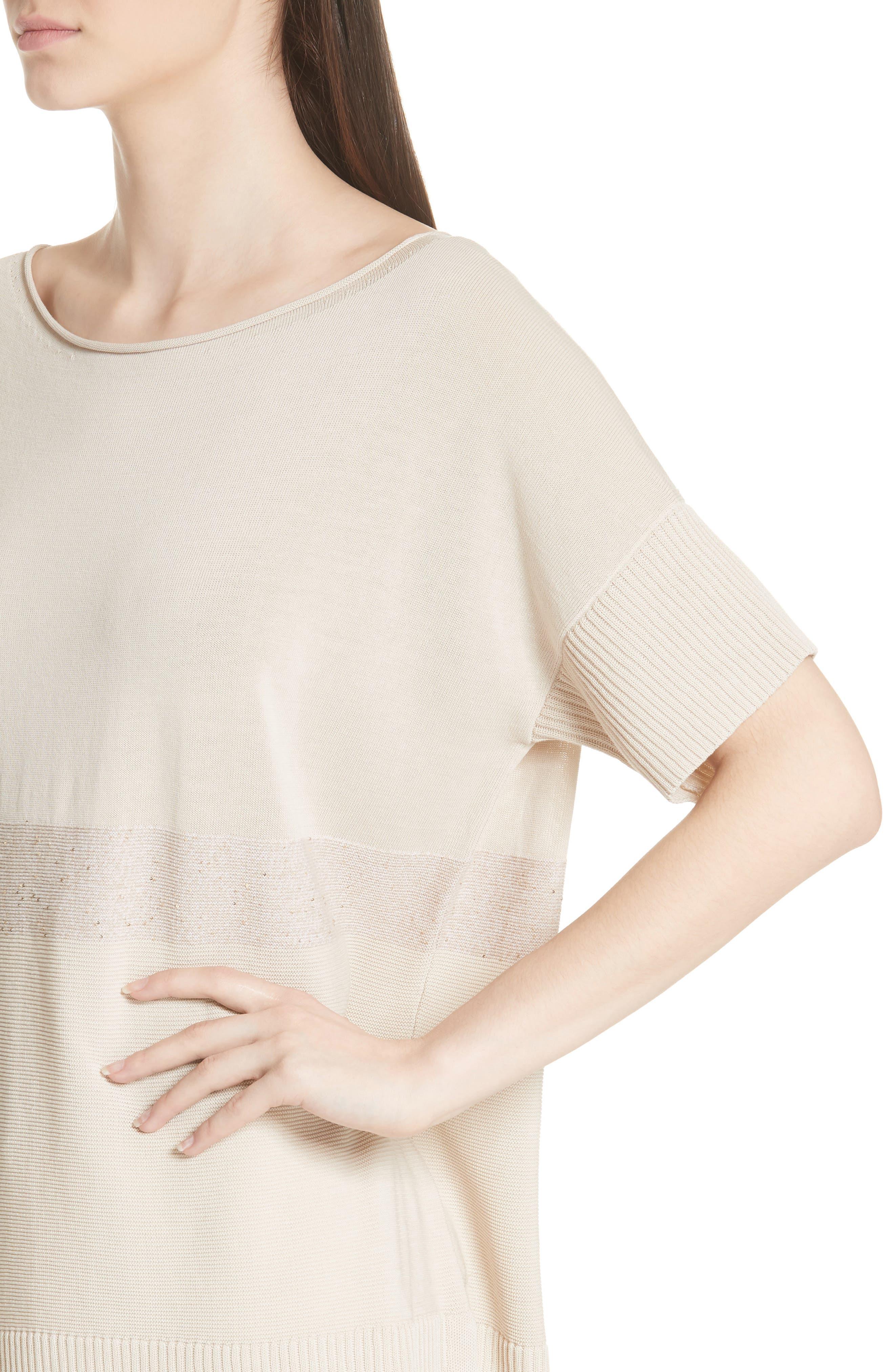 Cotton Crepe Yarn Sequin Stripe Sweater,                             Alternate thumbnail 4, color,                             RAFFIA MULTI
