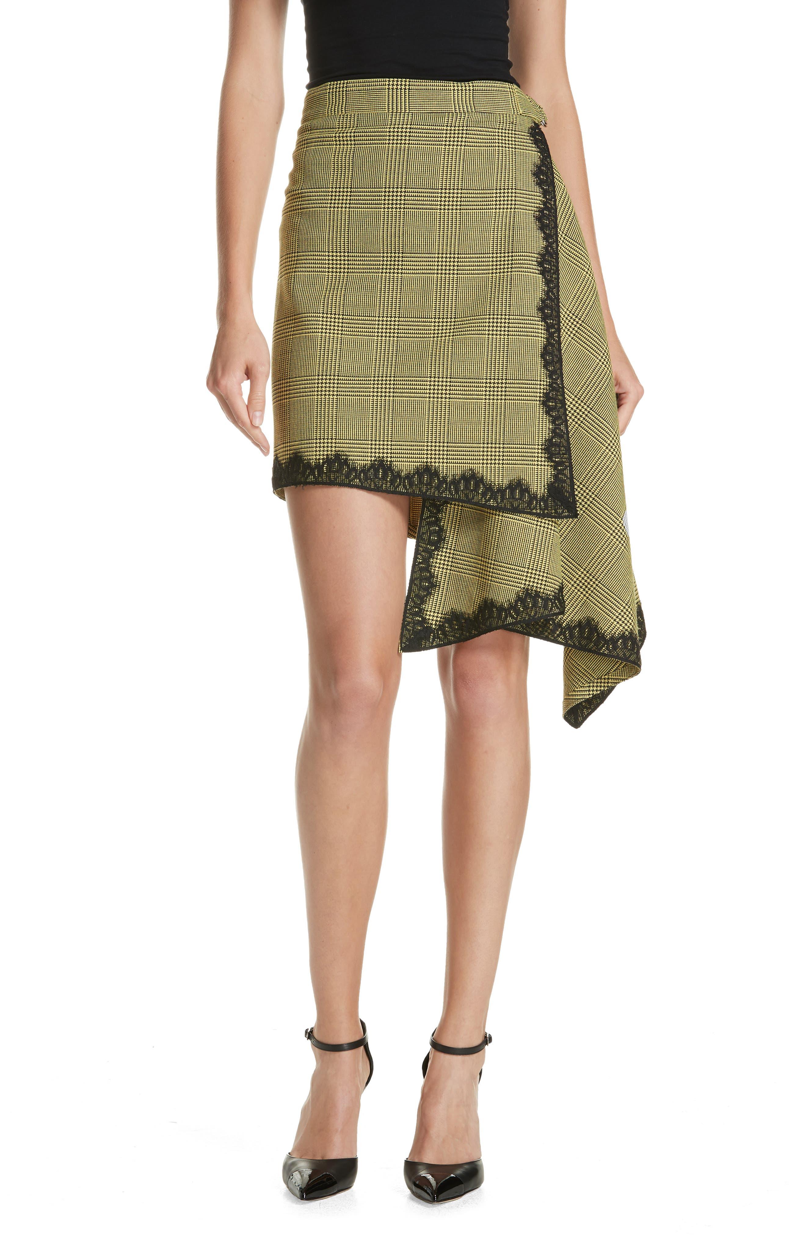 Lace Trim Plaid Skirt,                             Main thumbnail 1, color,                             BLACK/ YELLOW