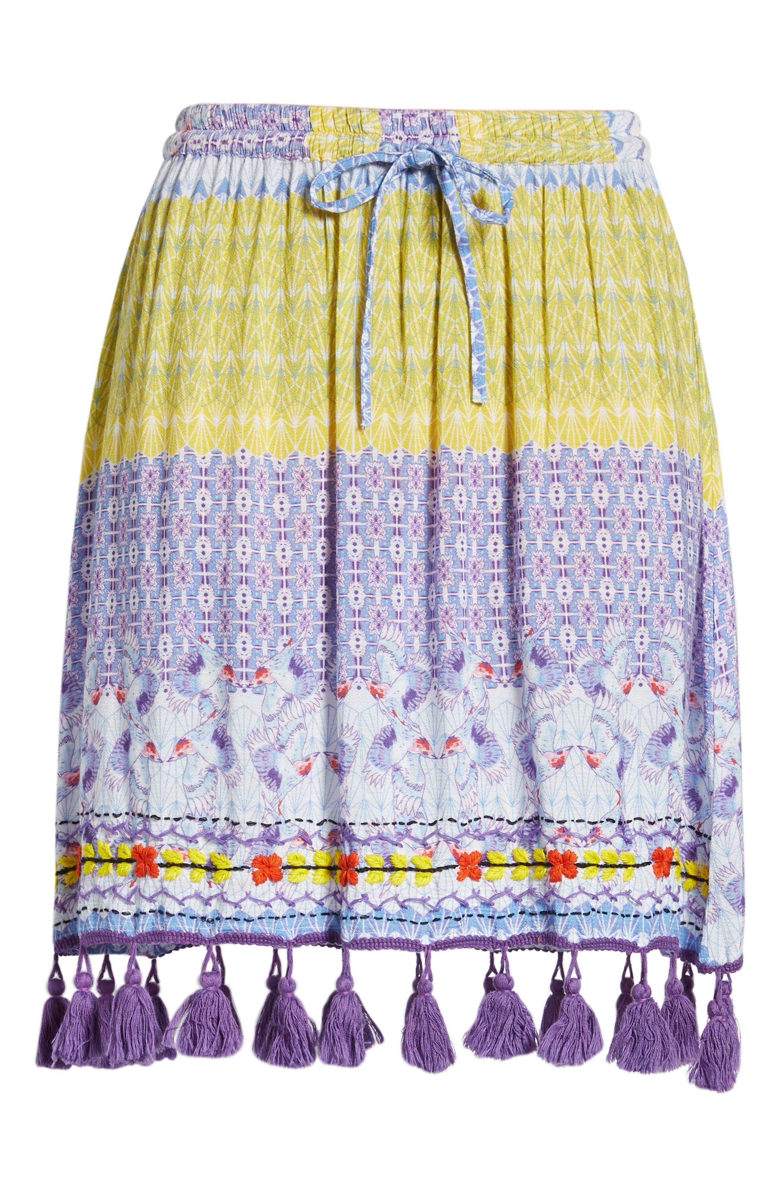Tropic Bird Tassel Trim Skirt,                             Alternate thumbnail 6, color,                             500