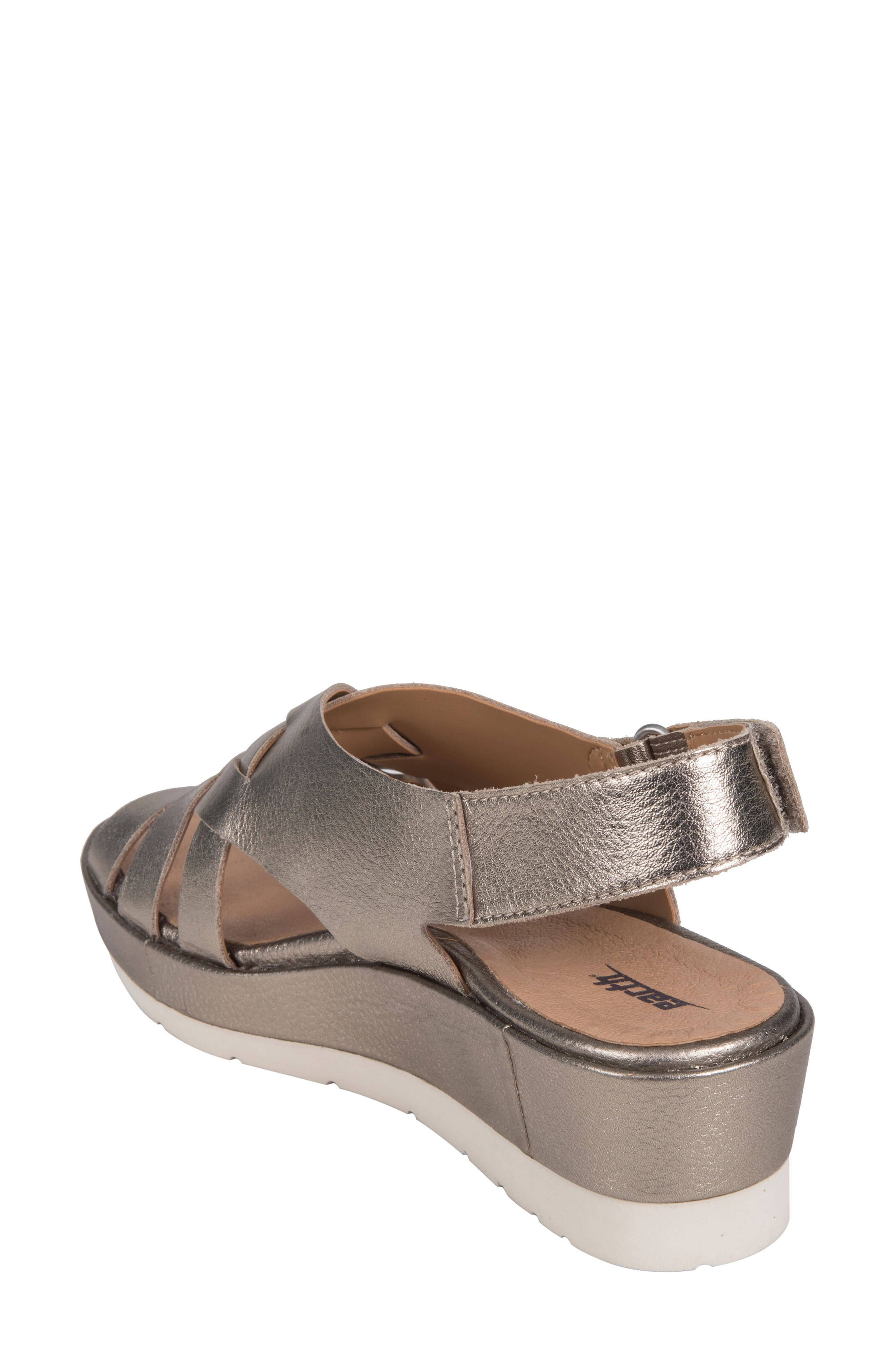Sunflower Wedge Sandal,                             Alternate thumbnail 2, color,                             WASHED GOLD METALLIC LEATHER