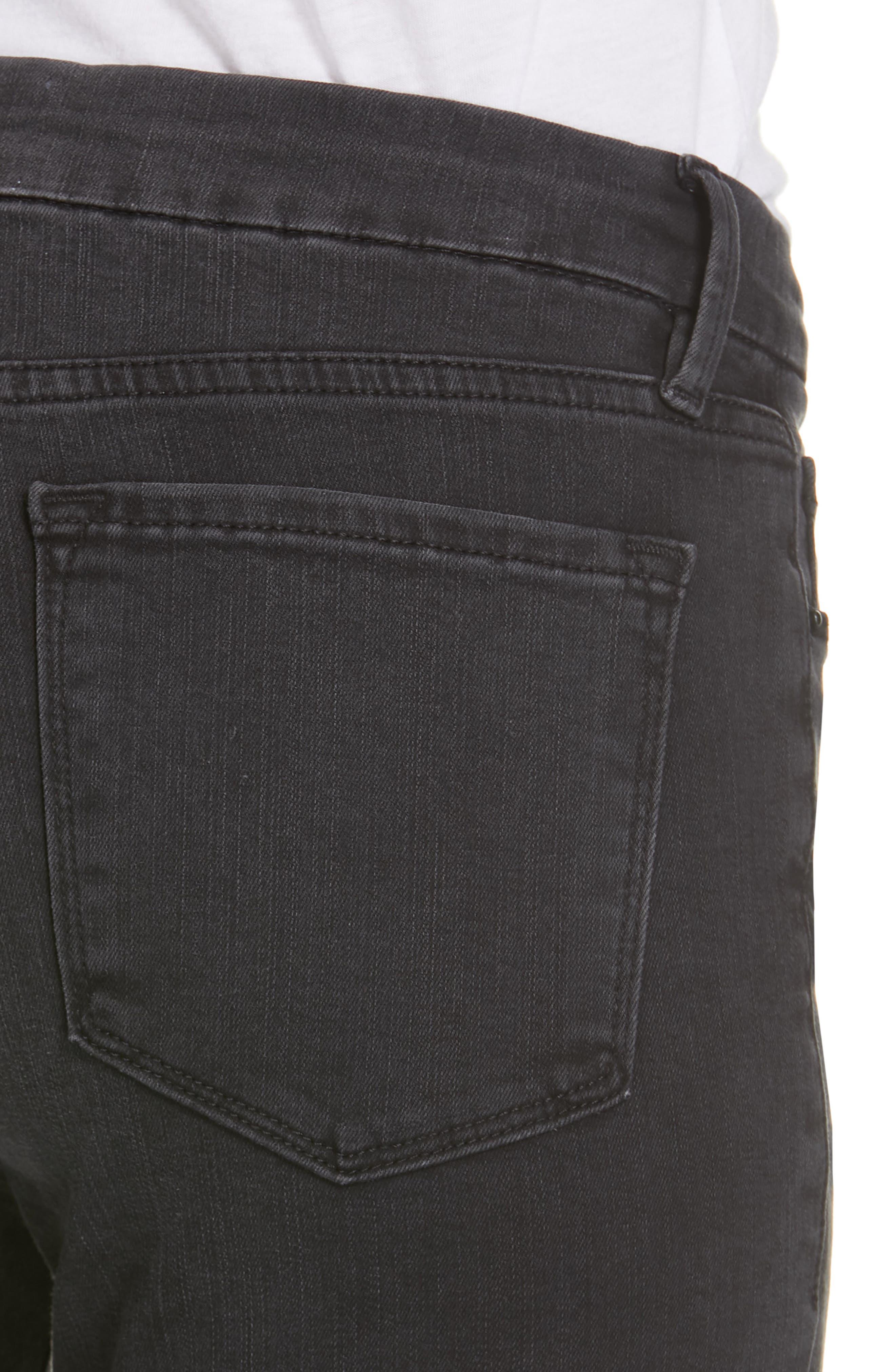 Le Crop Mini Boot Shredded Hem Jeans,                             Alternate thumbnail 4, color,                             001