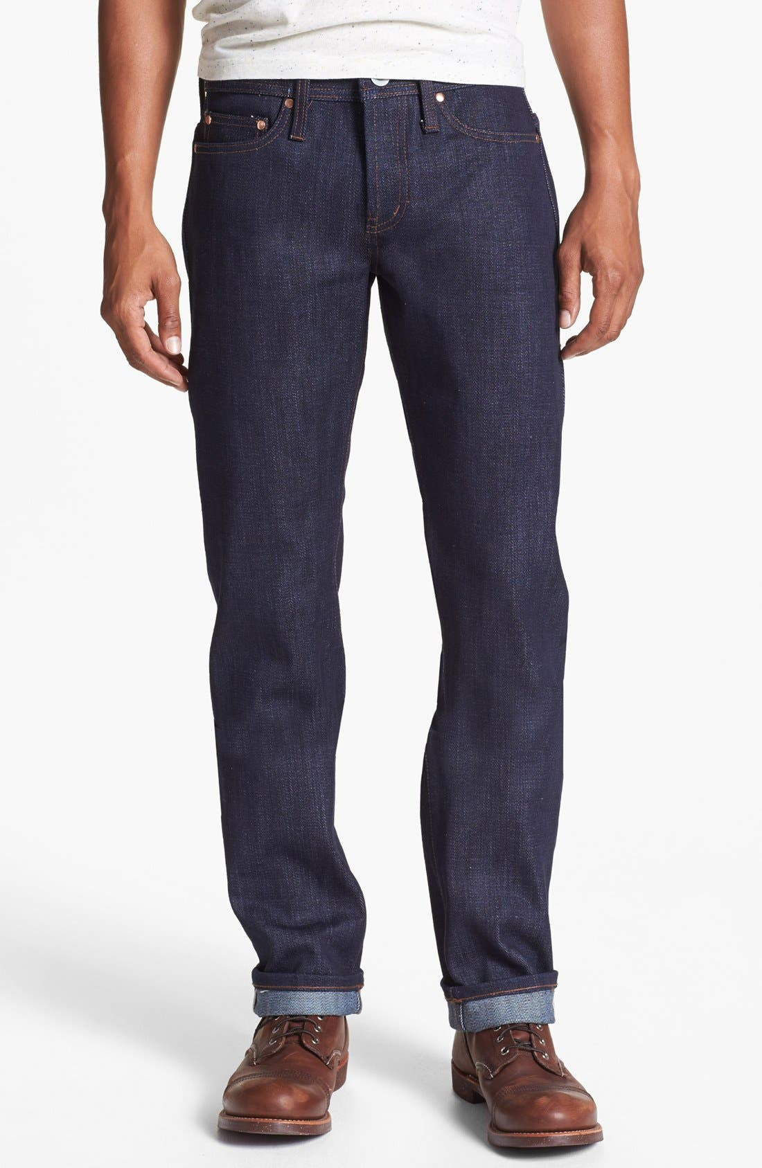 THE UNBRANDED BRAND 'UB221' Slim Fit Raw Selvedge Jeans, Main, color, 401
