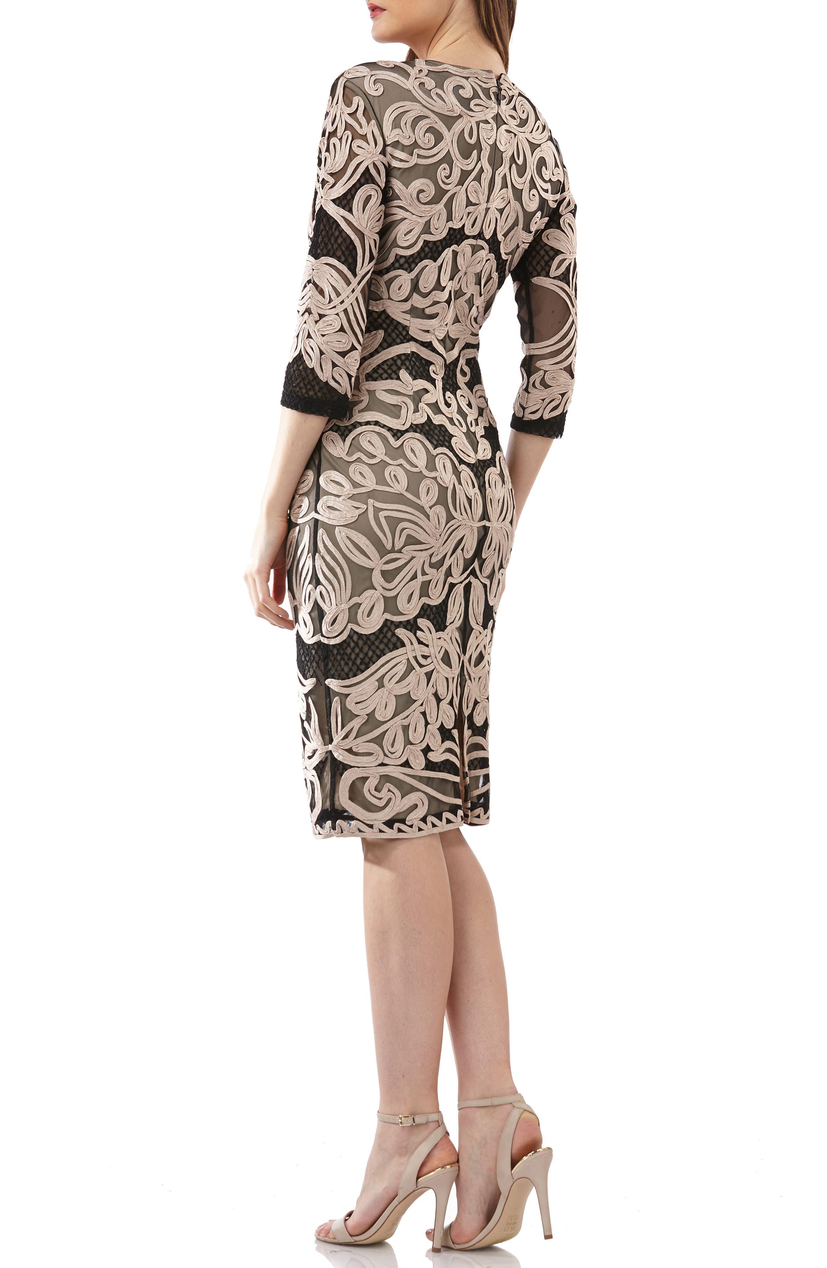 Soutache Sheath Dress,                             Alternate thumbnail 2, color,                             CHAMPAGNE/ BLACK