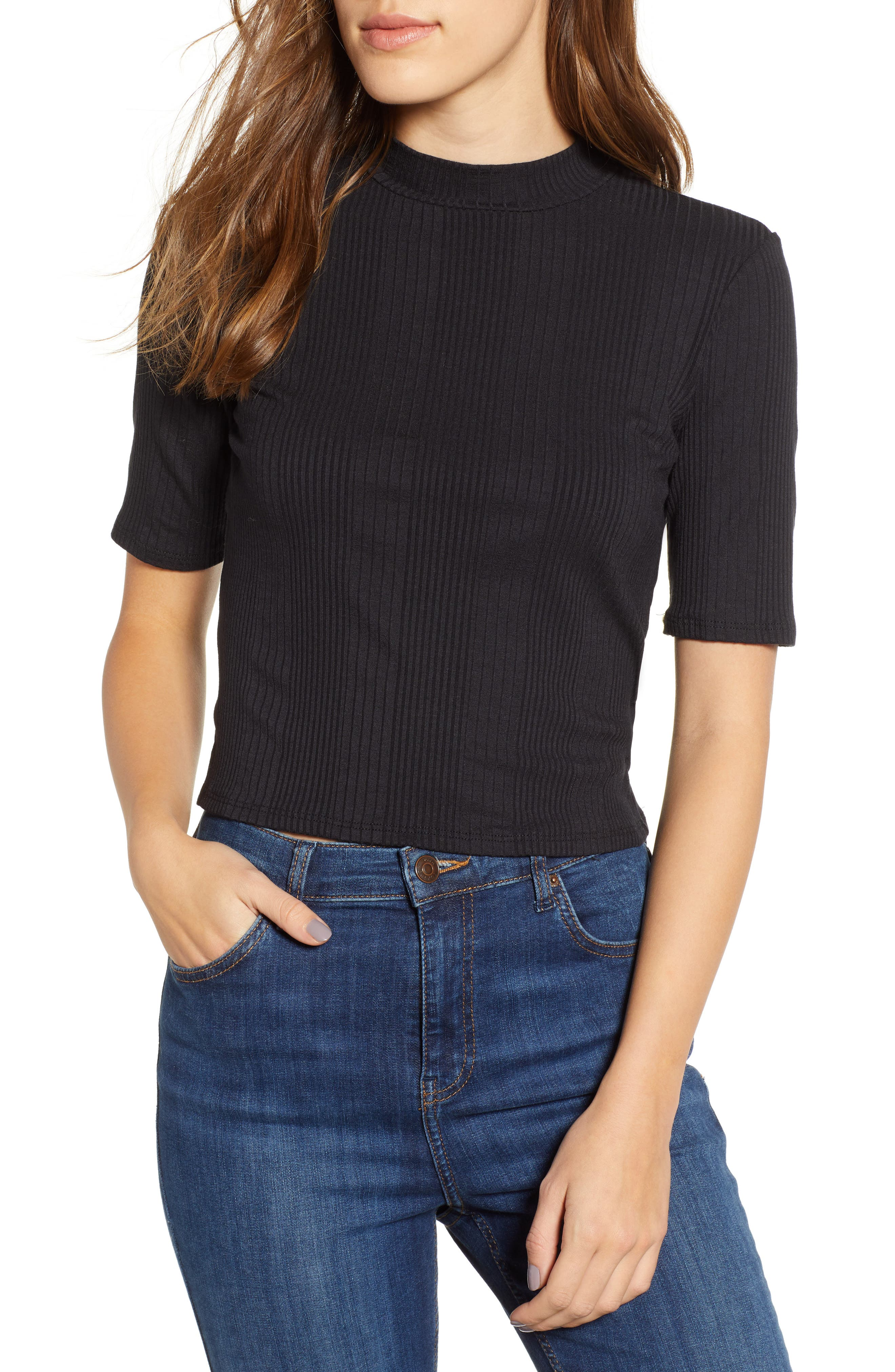 Rib Knit Mock Neck Tee by Pst By Project Social T