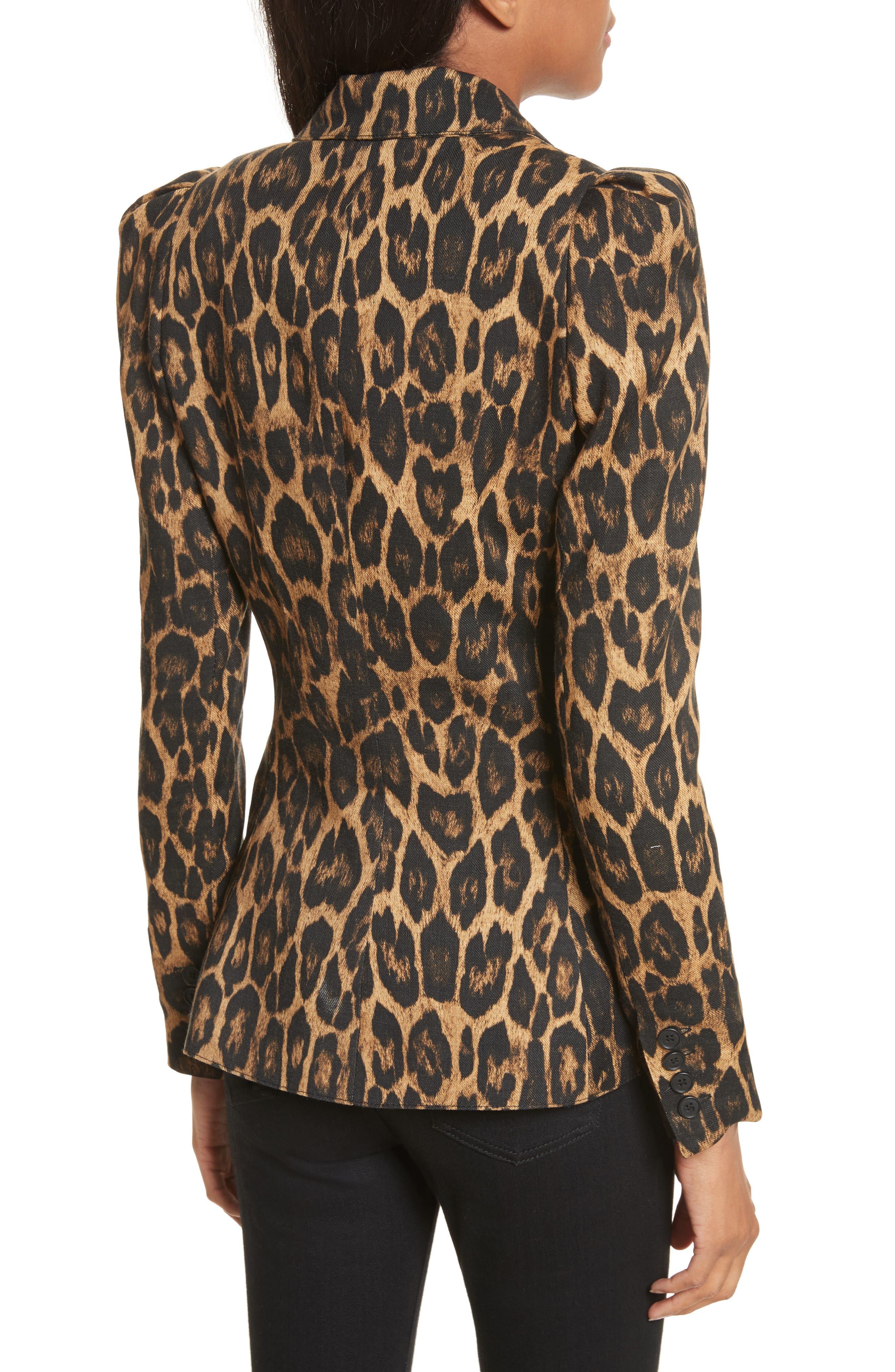 Leopard Puff Shoulder Wool Blazer,                             Alternate thumbnail 2, color,