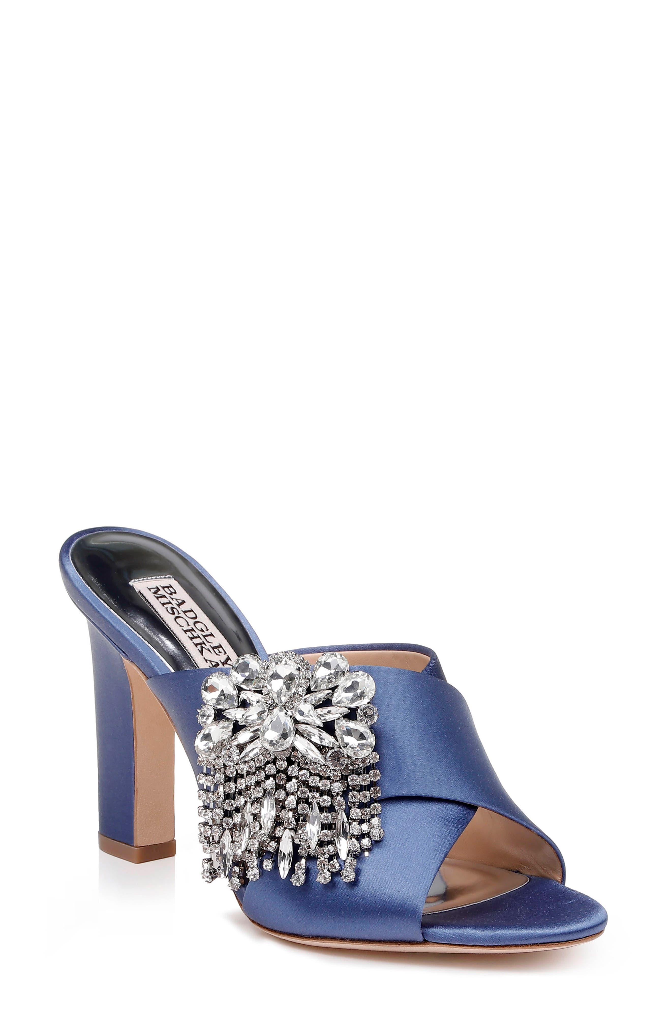 Badgley Mischka Farrah Sandal, Main, color, ITALIAN BLUE SATIN