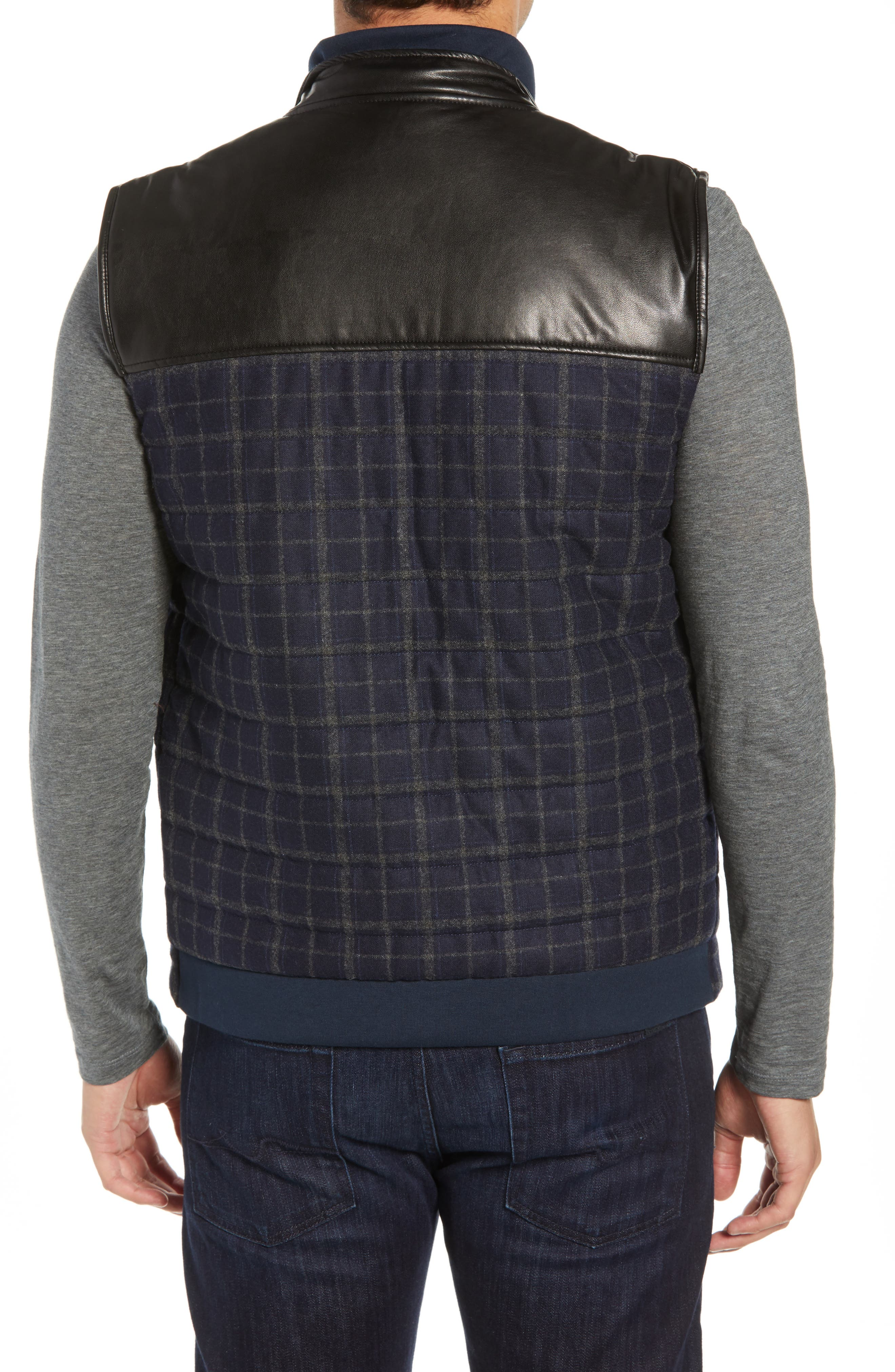 McClement Leather Trim Wool Blend Vest,                             Alternate thumbnail 2, color,                             BLUE