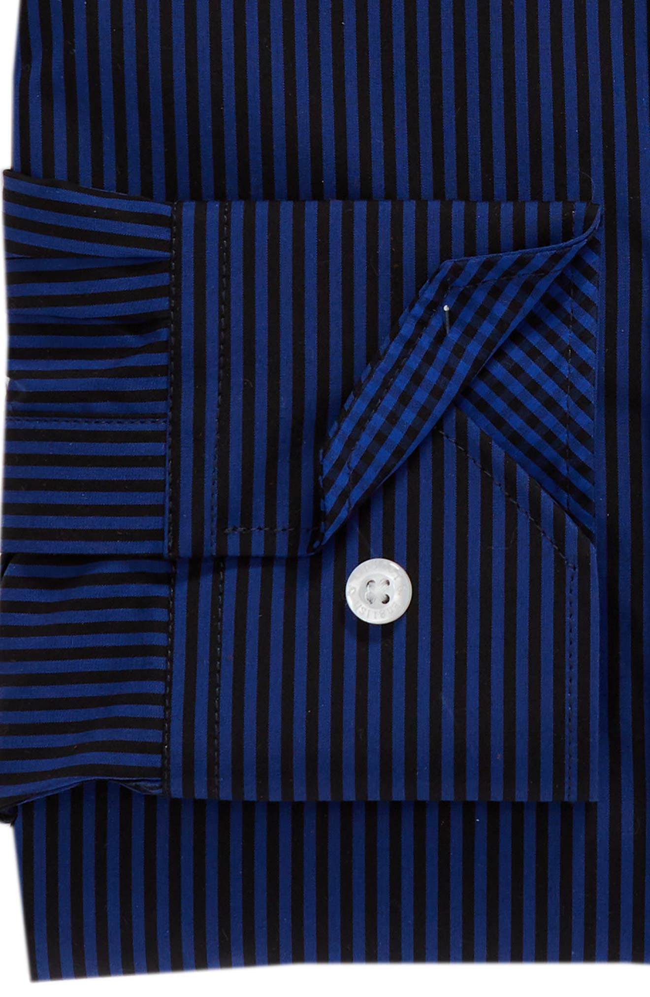 Regular Fit Stripe Dress Shirt,                             Alternate thumbnail 6, color,                             BLUE