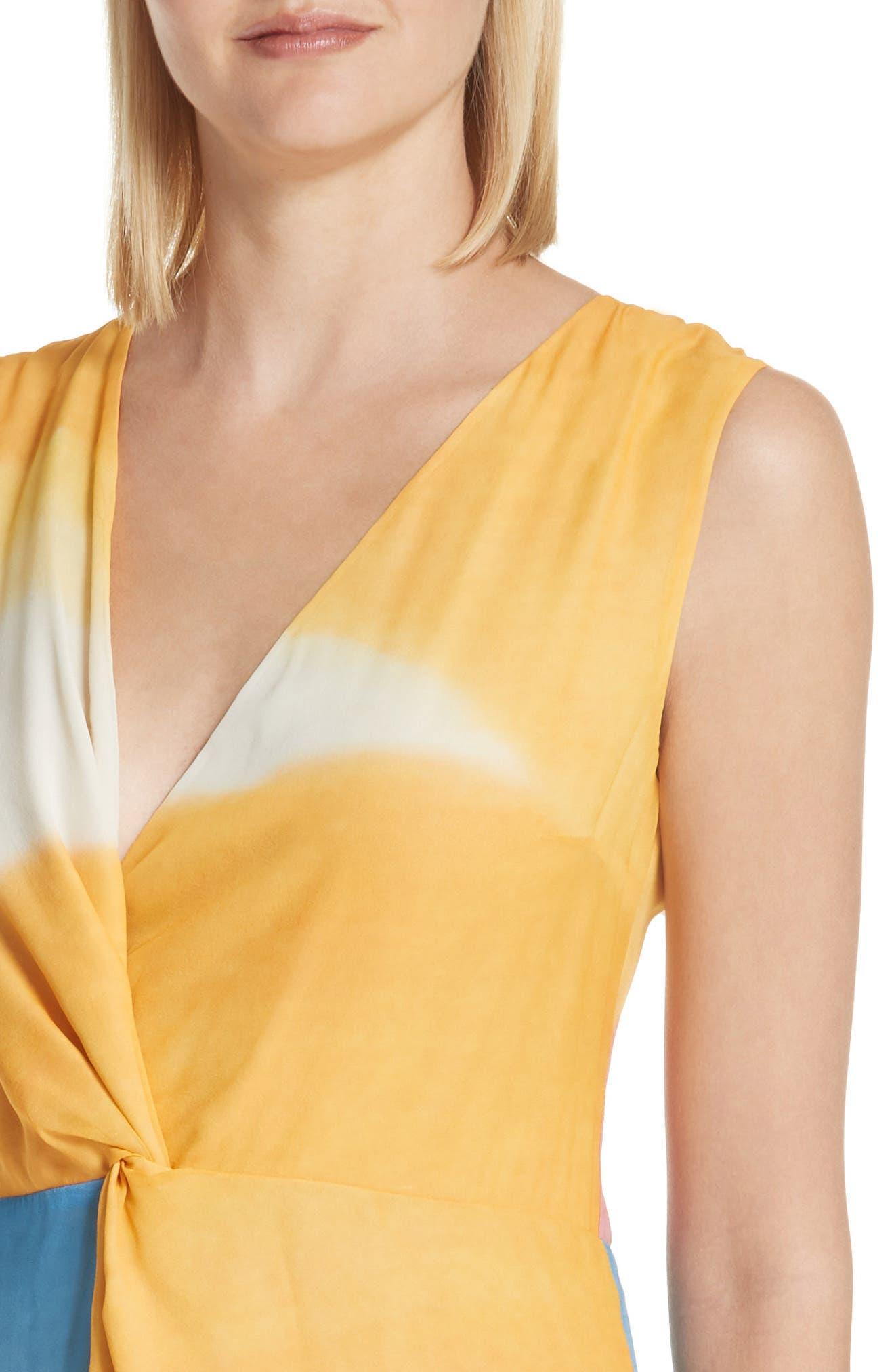 Watercolor Twisted Silk Midi Dress,                             Alternate thumbnail 4, color,                             650