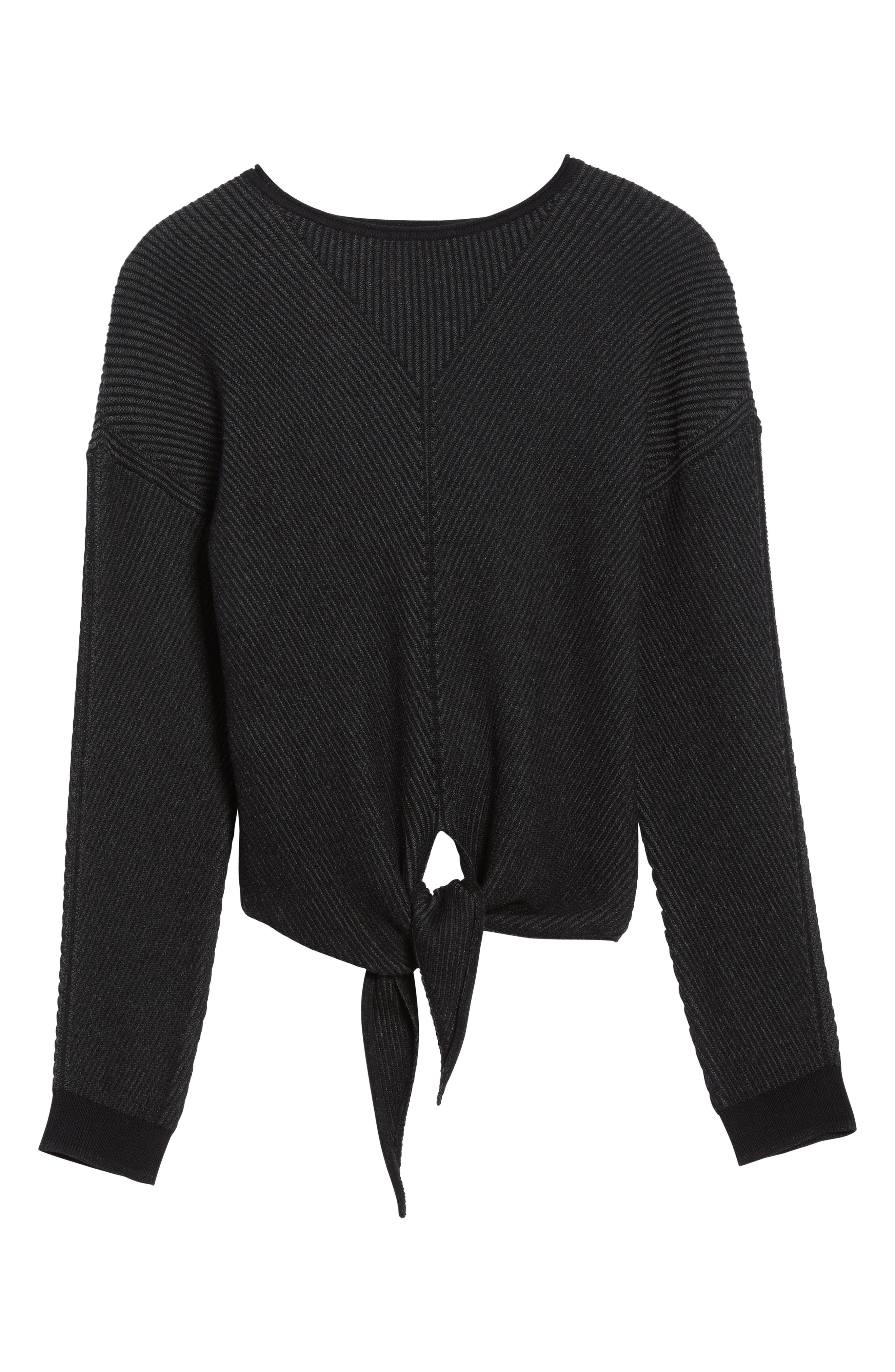 Tie Front Sweater,                             Alternate thumbnail 6, color,                             010