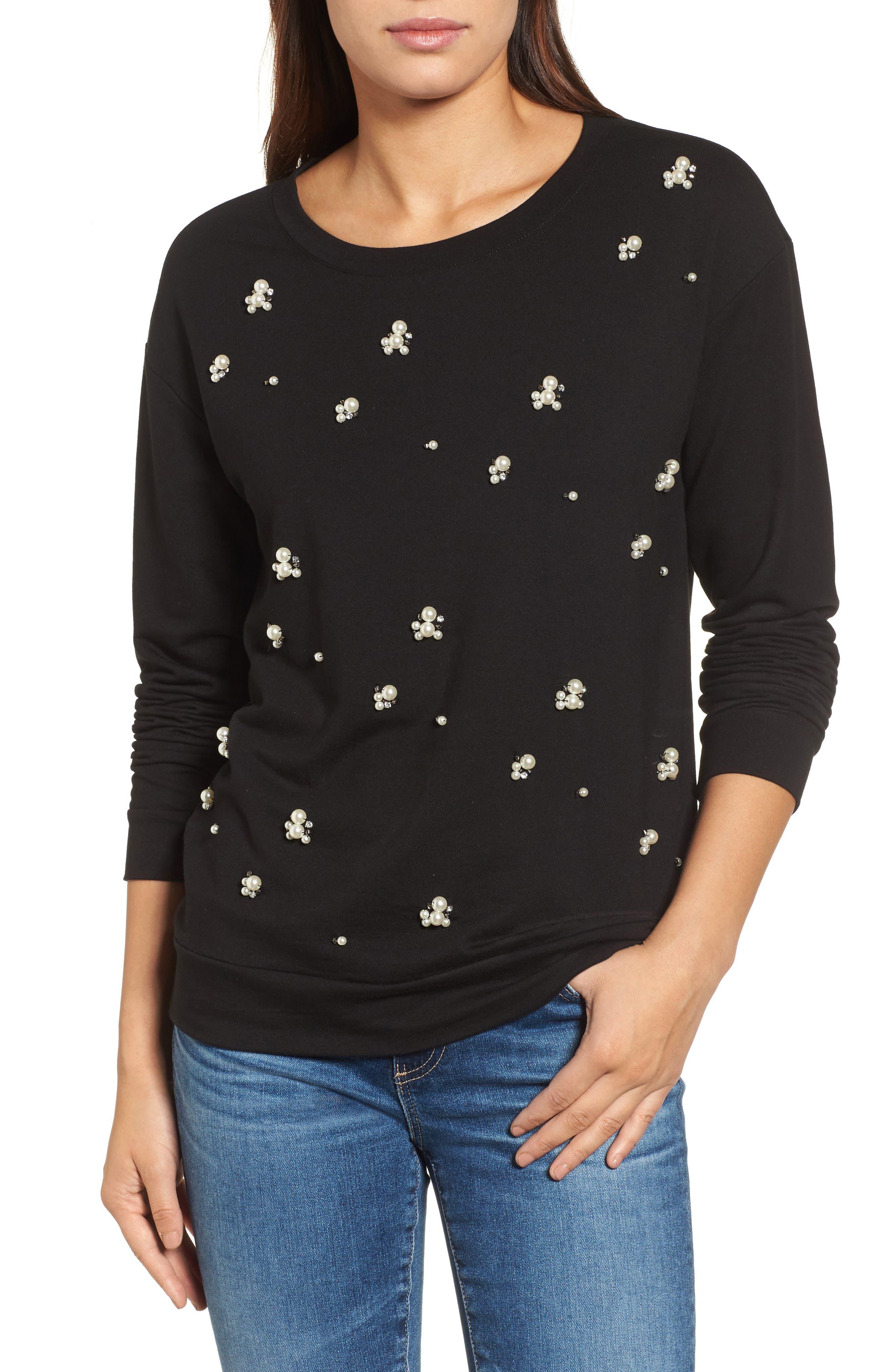Embellished Sweatshirt,                             Main thumbnail 1, color,                             001