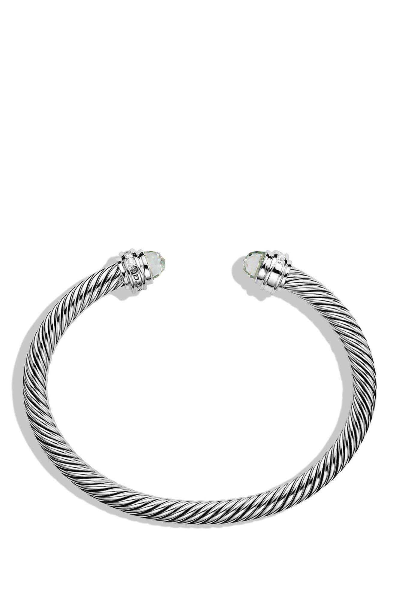 Cable Classics Bracelet with Semiprecious Stones & Diamonds, 5mm,                             Alternate thumbnail 2, color,                             PRASIOLITE