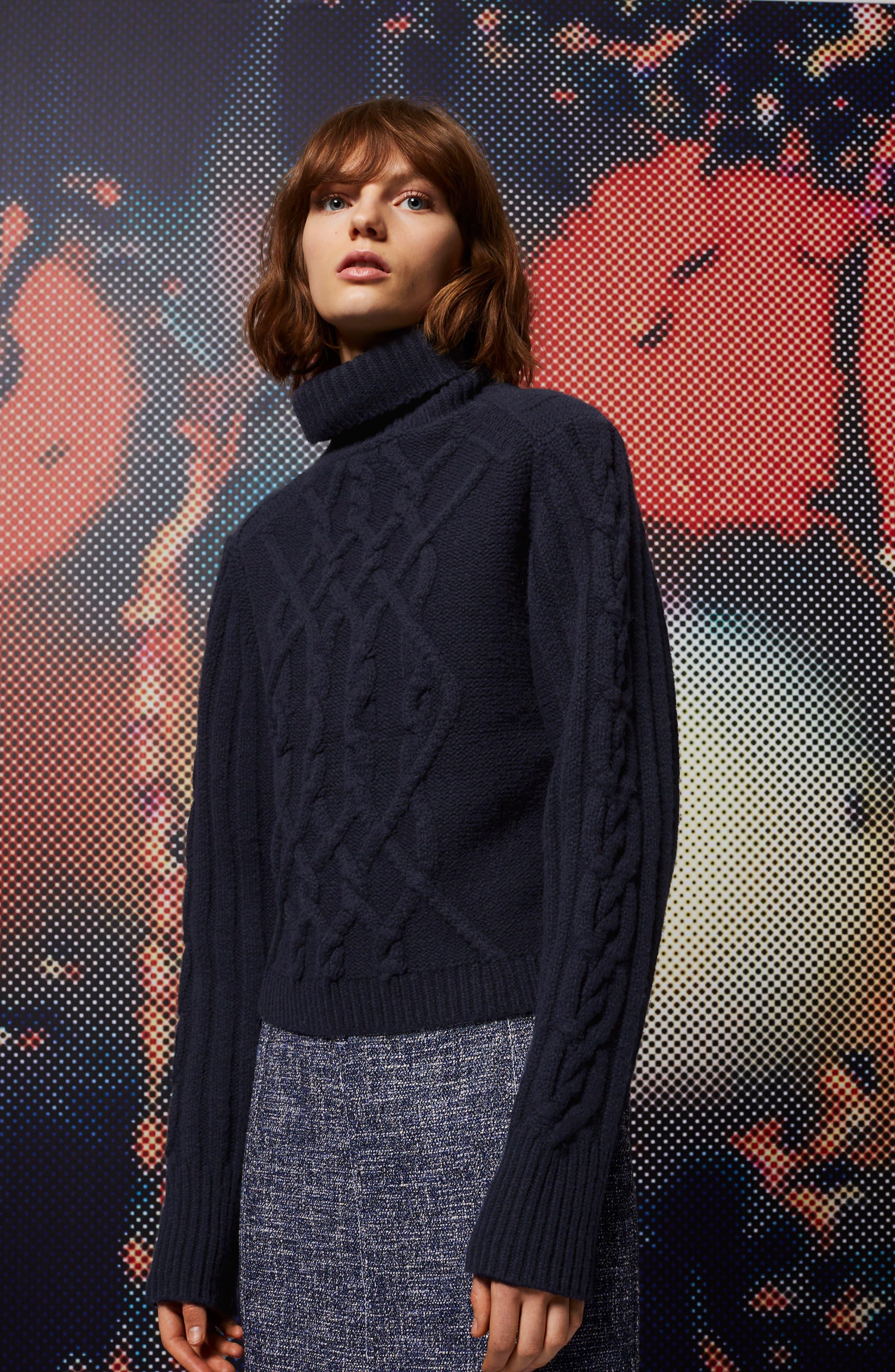 Cable Knit Turtleneck Sweater,                             Alternate thumbnail 4, color,