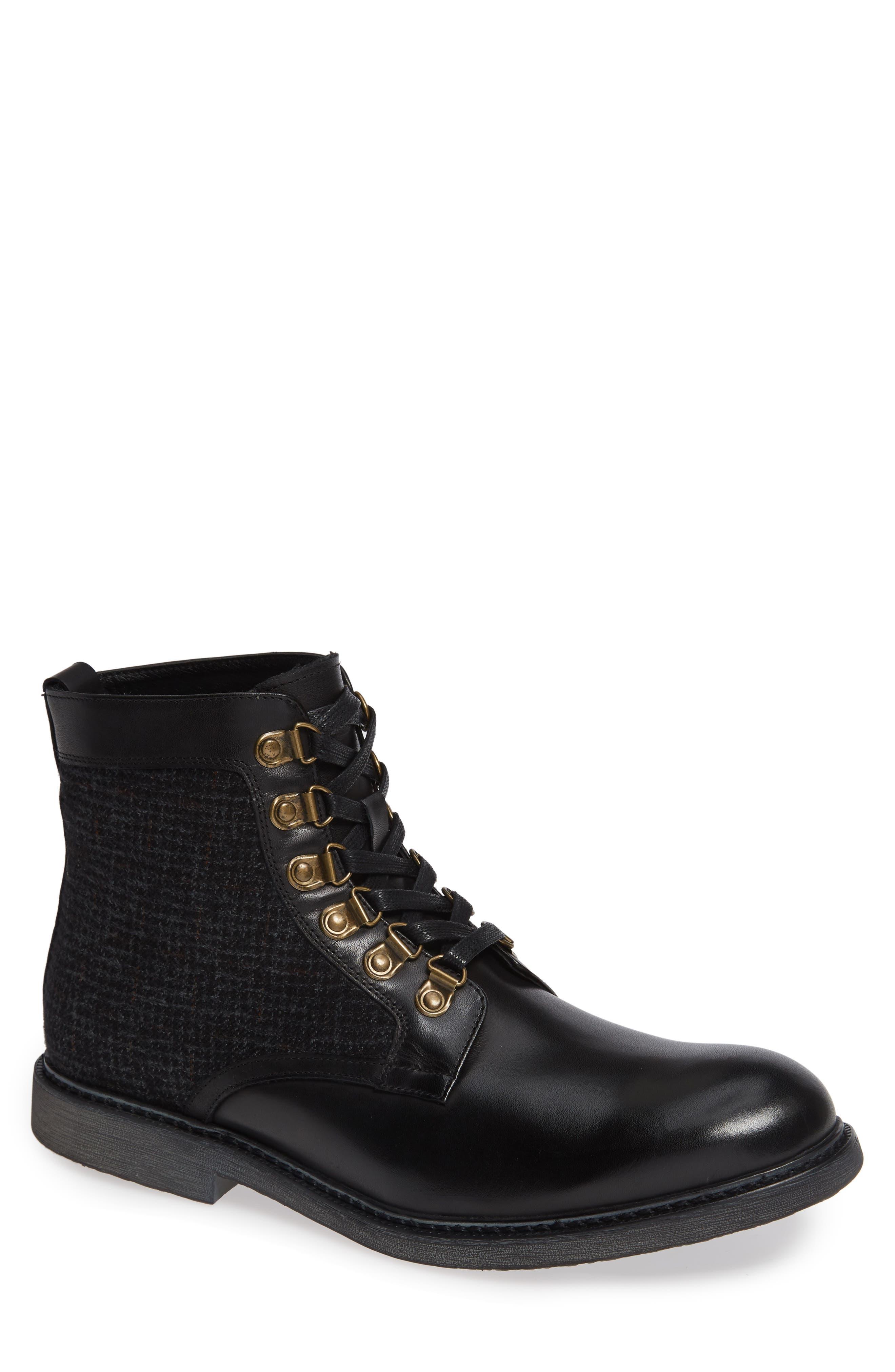 Bradford Textured Suede Boot,                         Main,                         color, BLACK
