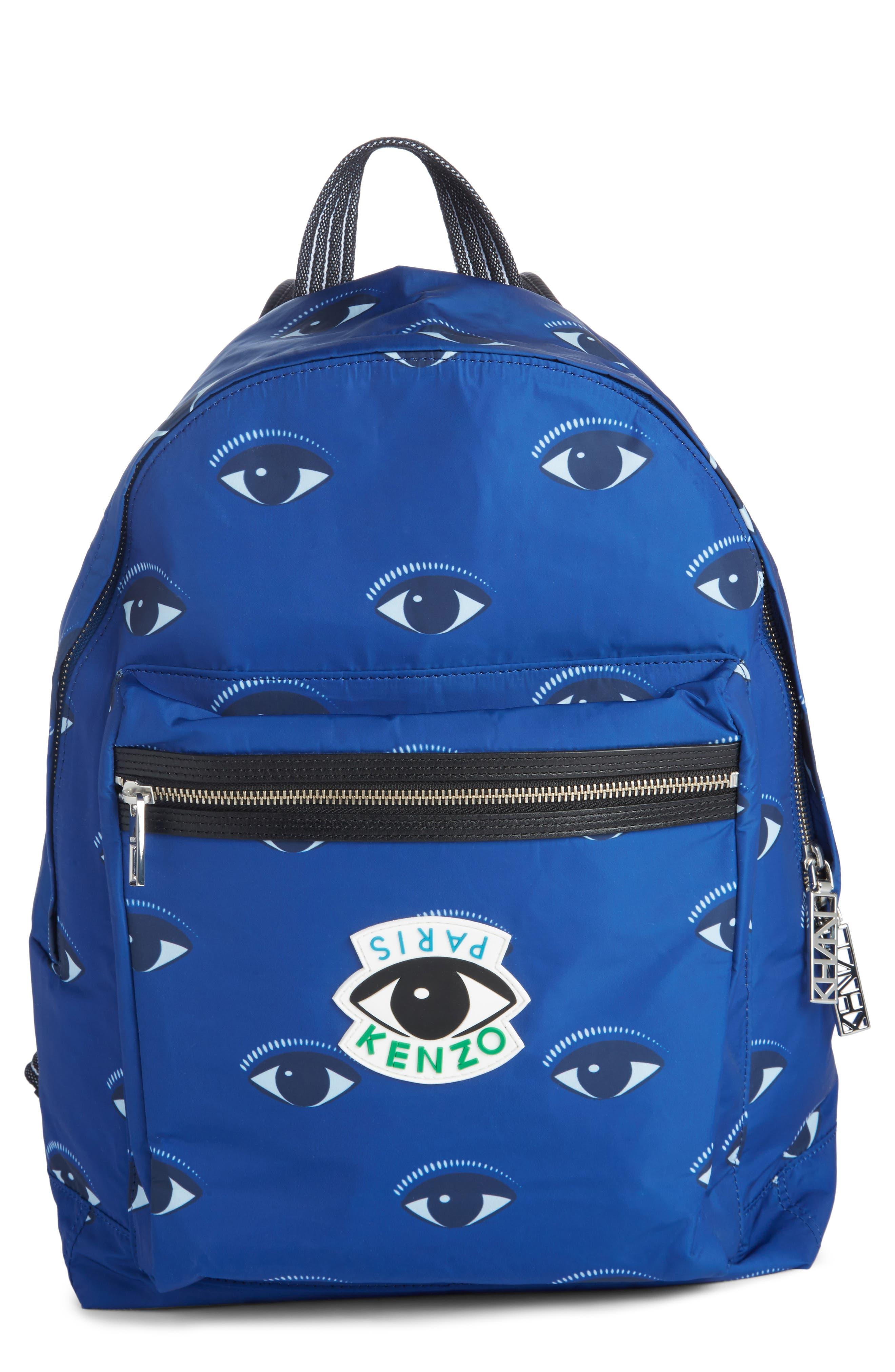 'Eyes' Nylon Backpack,                         Main,                         color, DEEP SEA BLUE