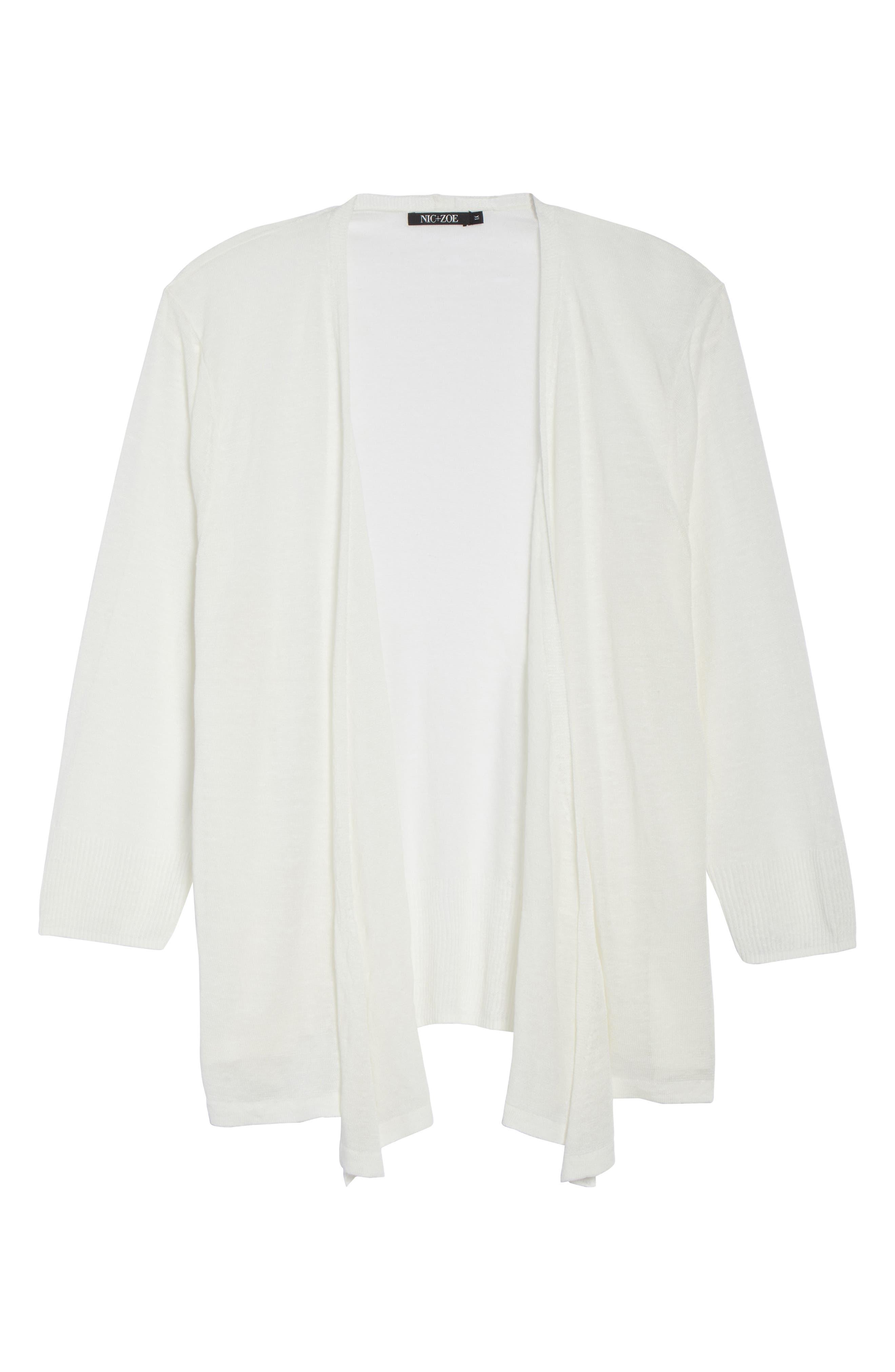 '4-Way' Three Quarter Sleeve Convertible Cardigan,                             Alternate thumbnail 7, color,                             MILK WHITE