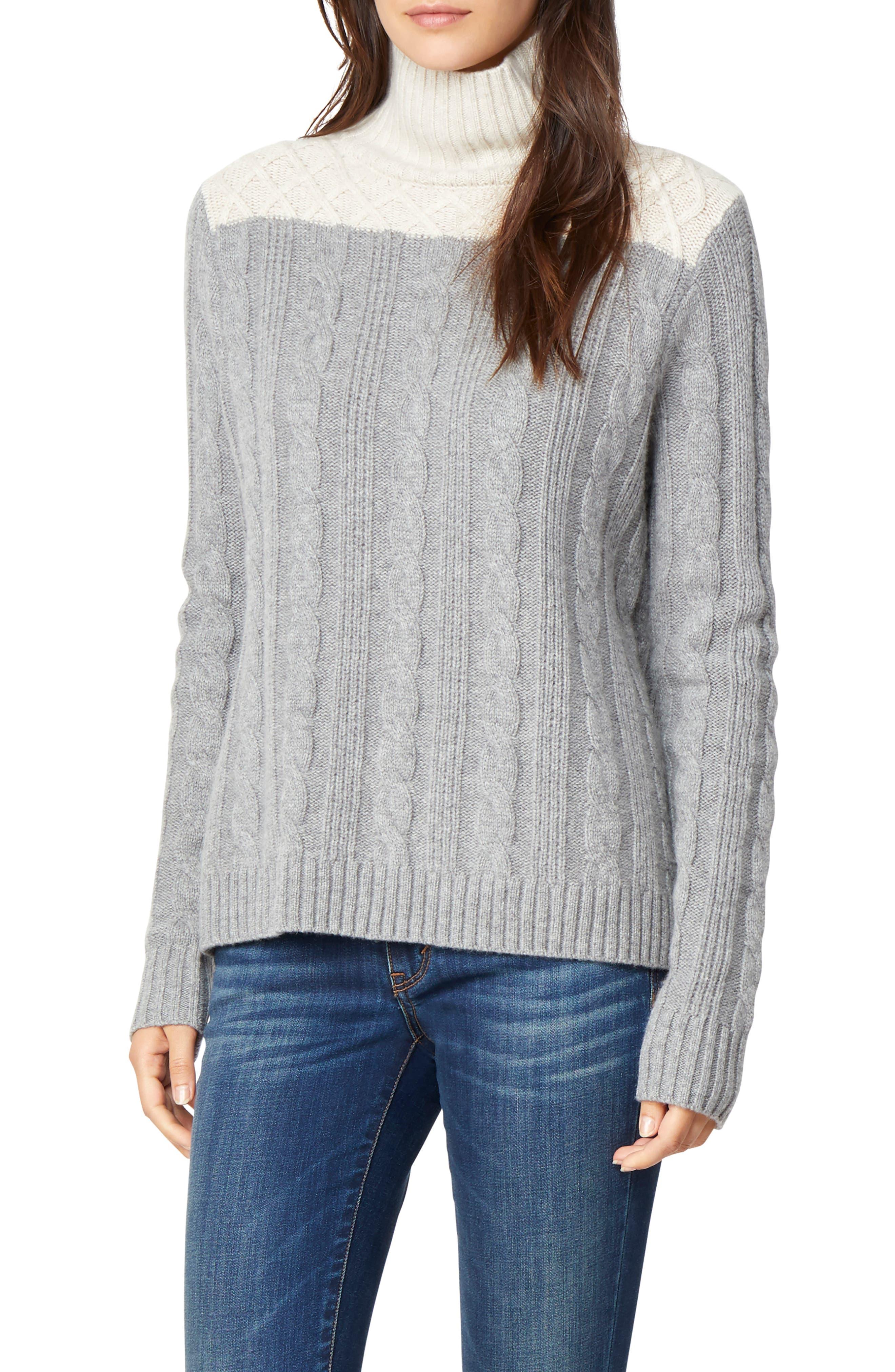 Devin Colorblock Cable Knit Turtleneck Sweater,                         Main,                         color, CHALET/ GREY FLANNEL