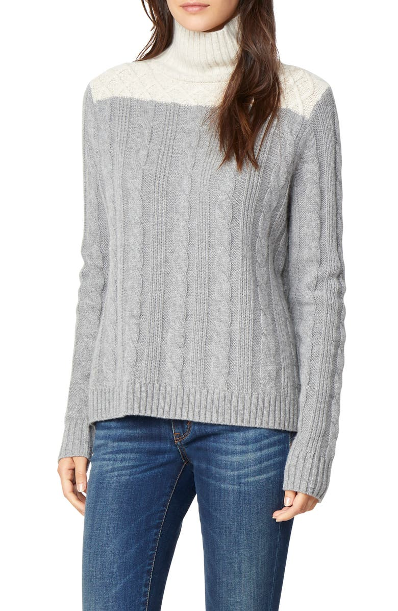 Devin Colorblock Cable Knit Turtleneck Sweater,                         Main,                         color, CHALET/ GREY FLANNEL