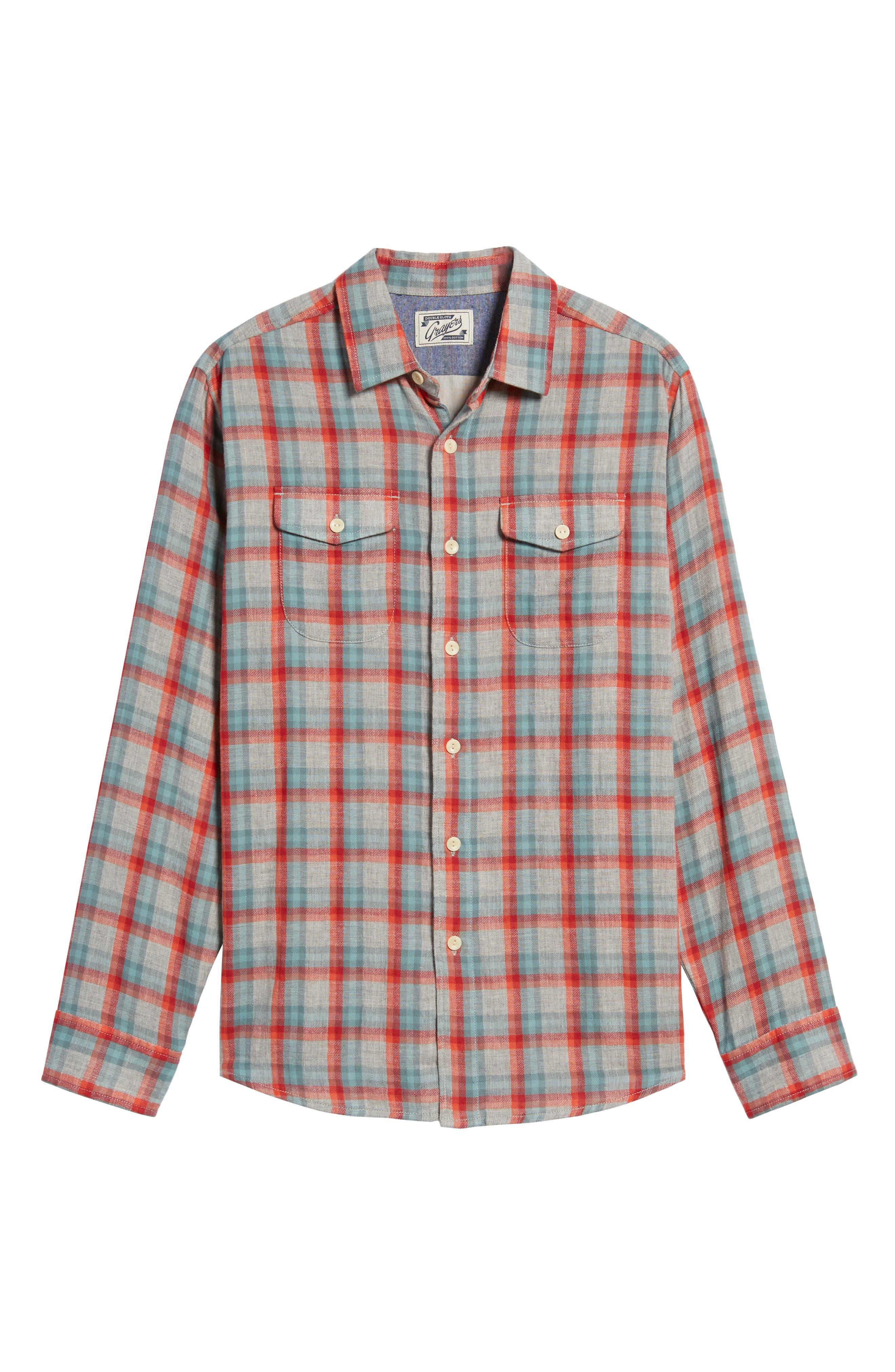 Sherman Modern Fit Double Cloth Windowpane Sport Shirt,                             Alternate thumbnail 6, color,