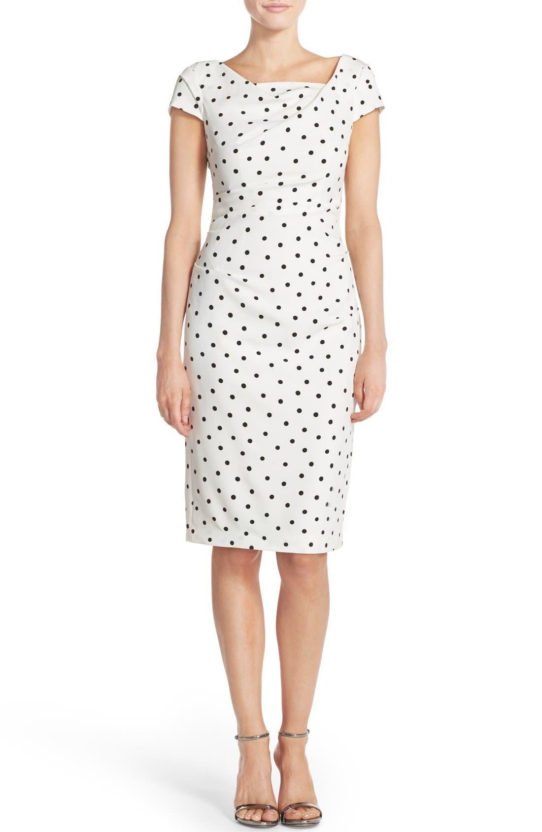 ADRIANNA PAPELL,                             Polka Dot Crepe Sheath Dress,                             Alternate thumbnail 6, color,                             900
